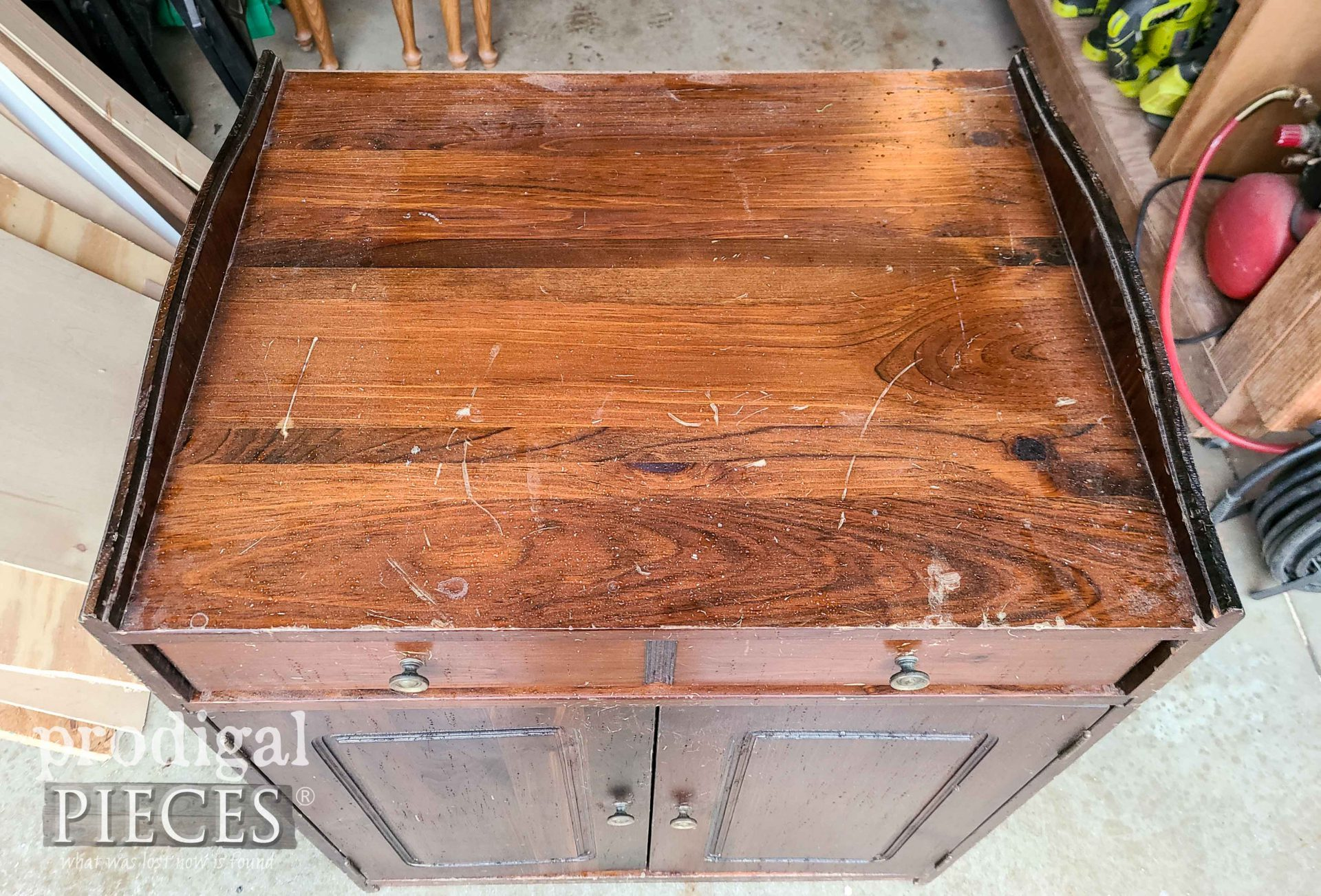 Top of Baking Cabinet Before Makeover by Prodigal Pieces | prodigalpieces.com