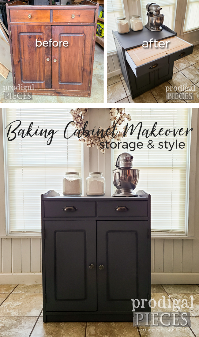 From drab to farmhouse fab, this baking cabinet is ready to help you take your kitchen to the next level | DIY details at Prodigal Pieces | prodigalpieces.com #prodigalpieces #farmhouse #home #homedecor #diy #kitchen