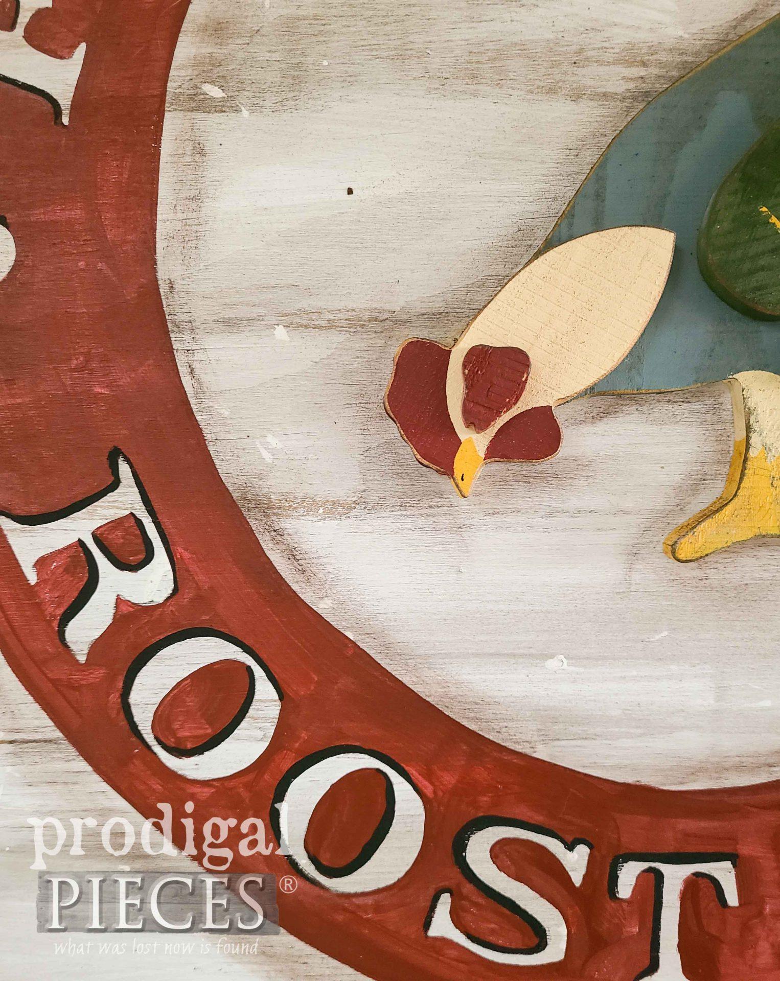 Handmade Chicken Sign Closeup by Larissa of Prodigal Pieces | prodigalpieces.com #prodigalpieces #diy #farmhouse #handmade #home #homedecor