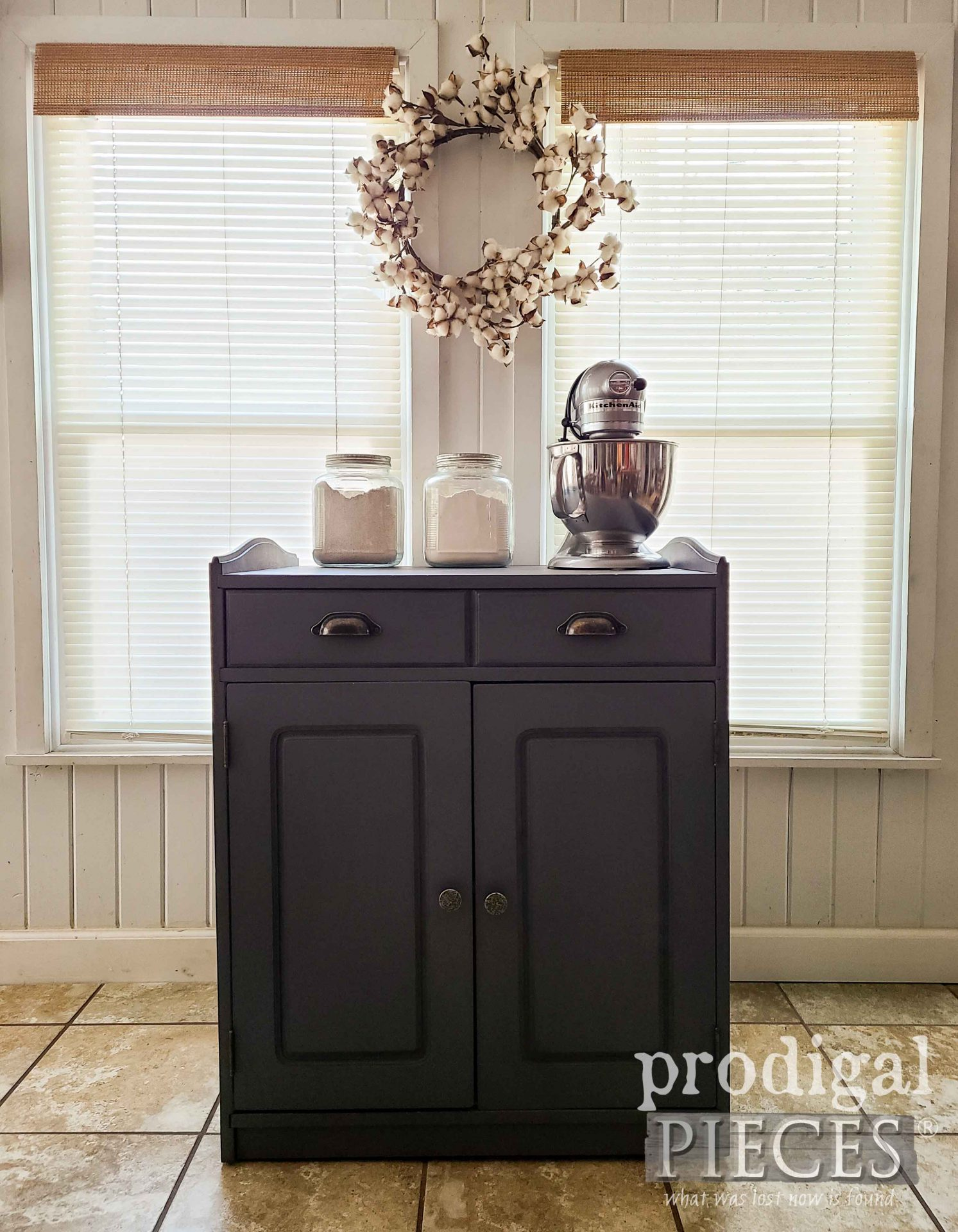 DIY Farmhouse Baking Cabinet on Casters with Built-In Cutting Board by Larissa of Prodigal Pieces | prodigalpieces.com #prodigalpieces #farmhouse #diy #home #homedecor #kitchen