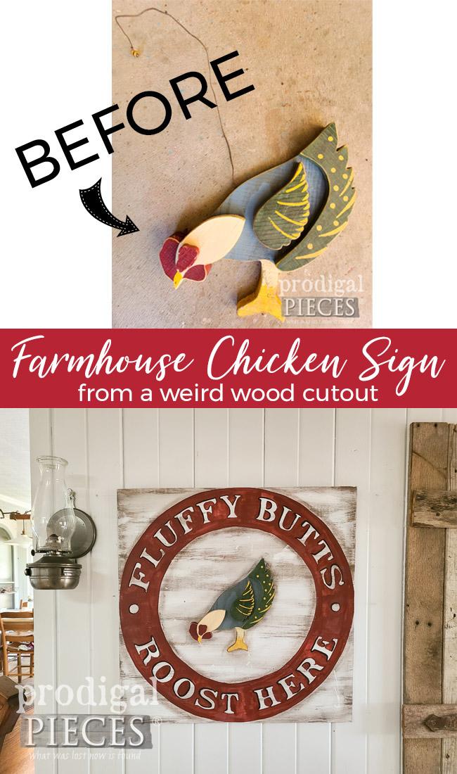 DIY Farmhouse Chicken Sign Handmade by Larissa of Prodigal Pieces | prodigalpieces.com #prodigalpieces #farmhouse #diy #home #homedecor #handmade
