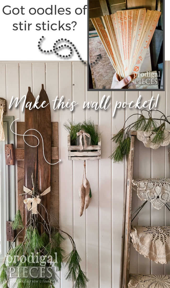 Don't toss that abundance of paint stir sticks you've accumulated! Instead, create this rustic, farmhouse DIY wall pocket with tutorial by Larissa of Prodigal Pieces | prodigalpieces.com #prodigalpieces #farmhouse #diy #christmas #home #homedecor