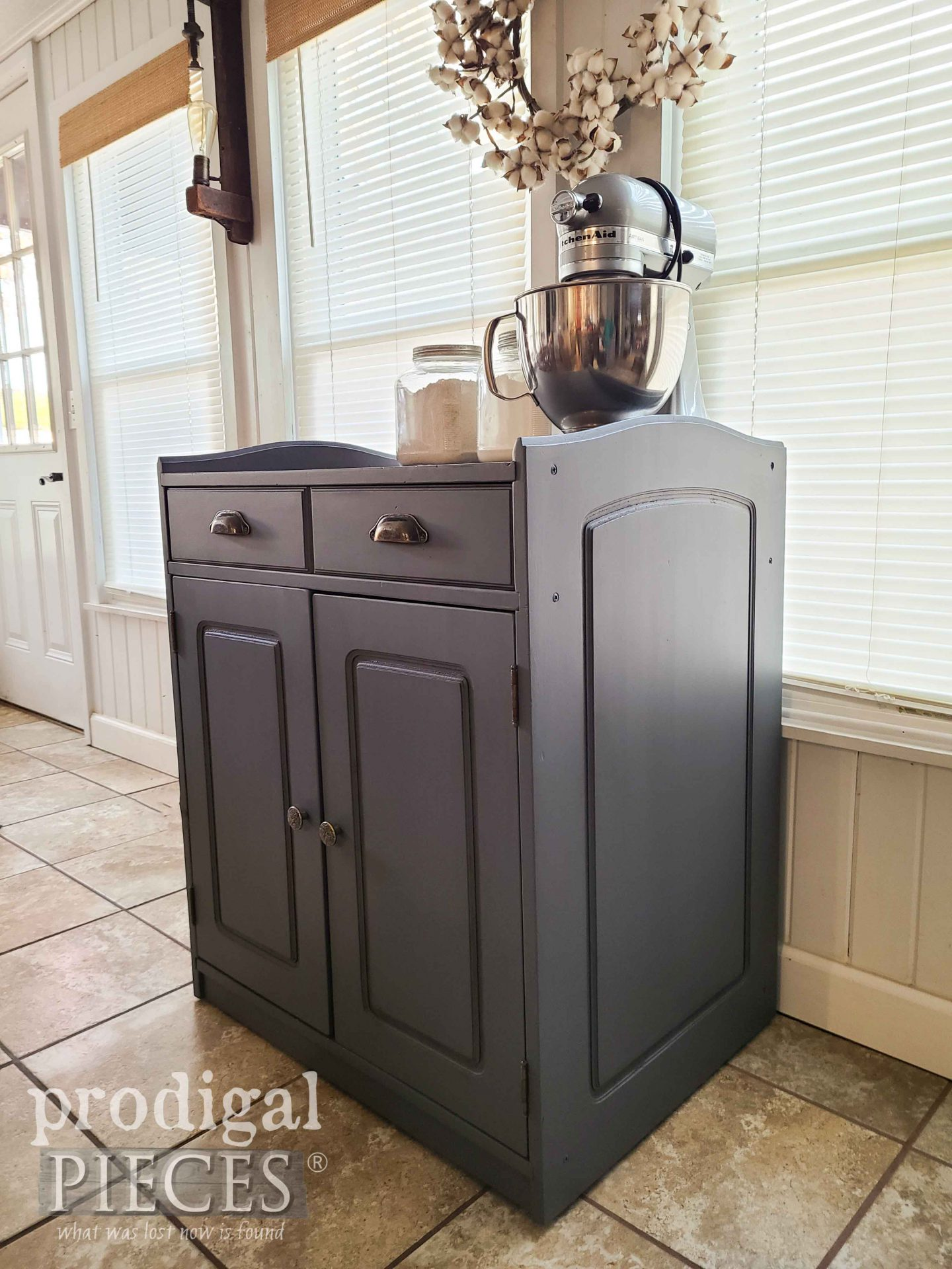 Modern Farmhouse Style Mobile Baking Cabinet by Larissa of Prodigal Pieces | prodigalpieces.com #prodigalpieces #farmhouse #furniture #home #kitchen