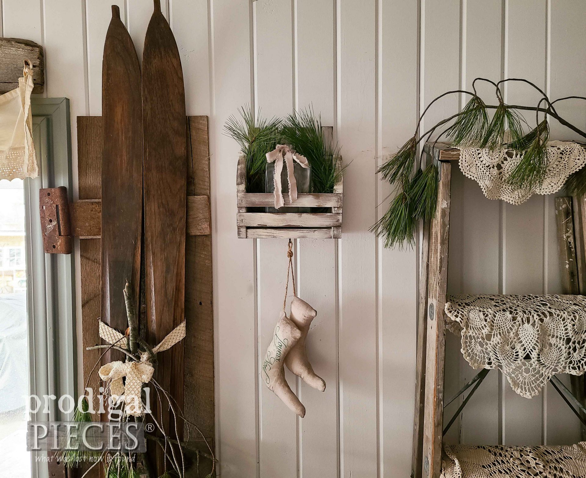 Farmhouse DIY Wall Pocket with Stockings Tutorial by Larissa of Prodigal Pieces | prodigalpieces.com #prodigalpieces #farmhouse #home #homedecor #diy #christmas