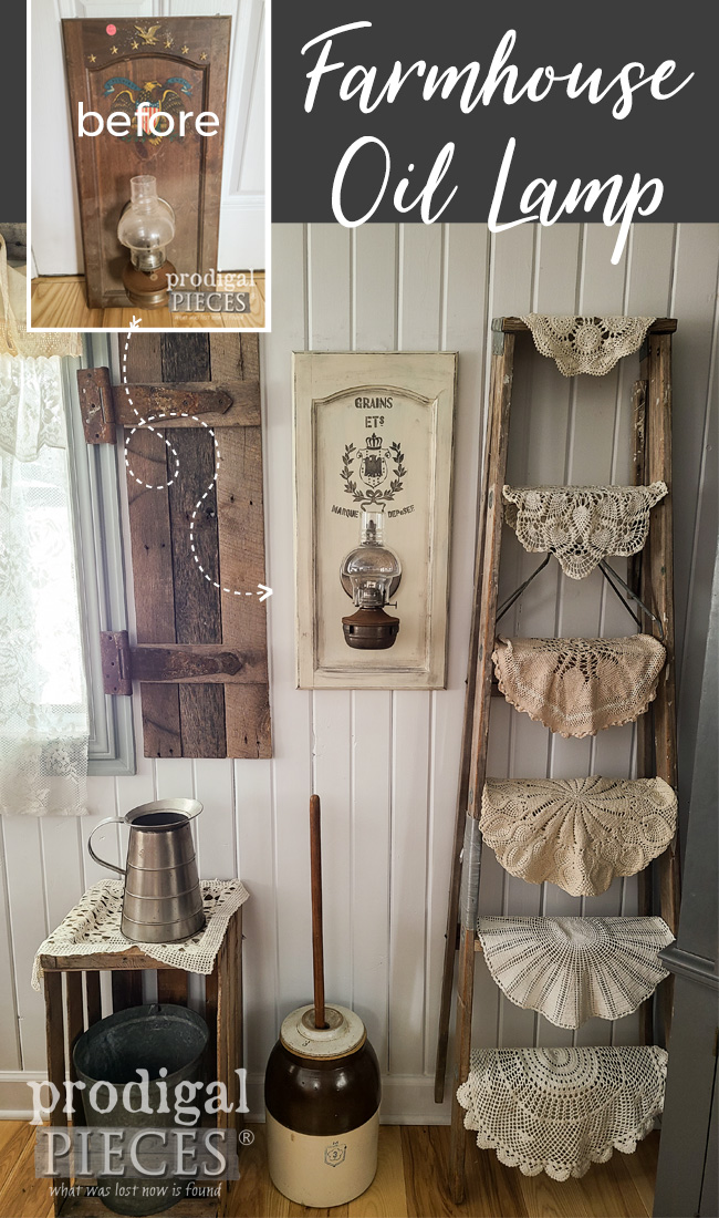 From dated and dirty to farmhouse chic, this vintage oil lamp wall decor is now rustic chic. Video tutorial by Larissa at Prodigal Pieces | prodigalpieces.com #prodigalpieces #farmhouse #diy #home #vintage #salvaged #homedecor