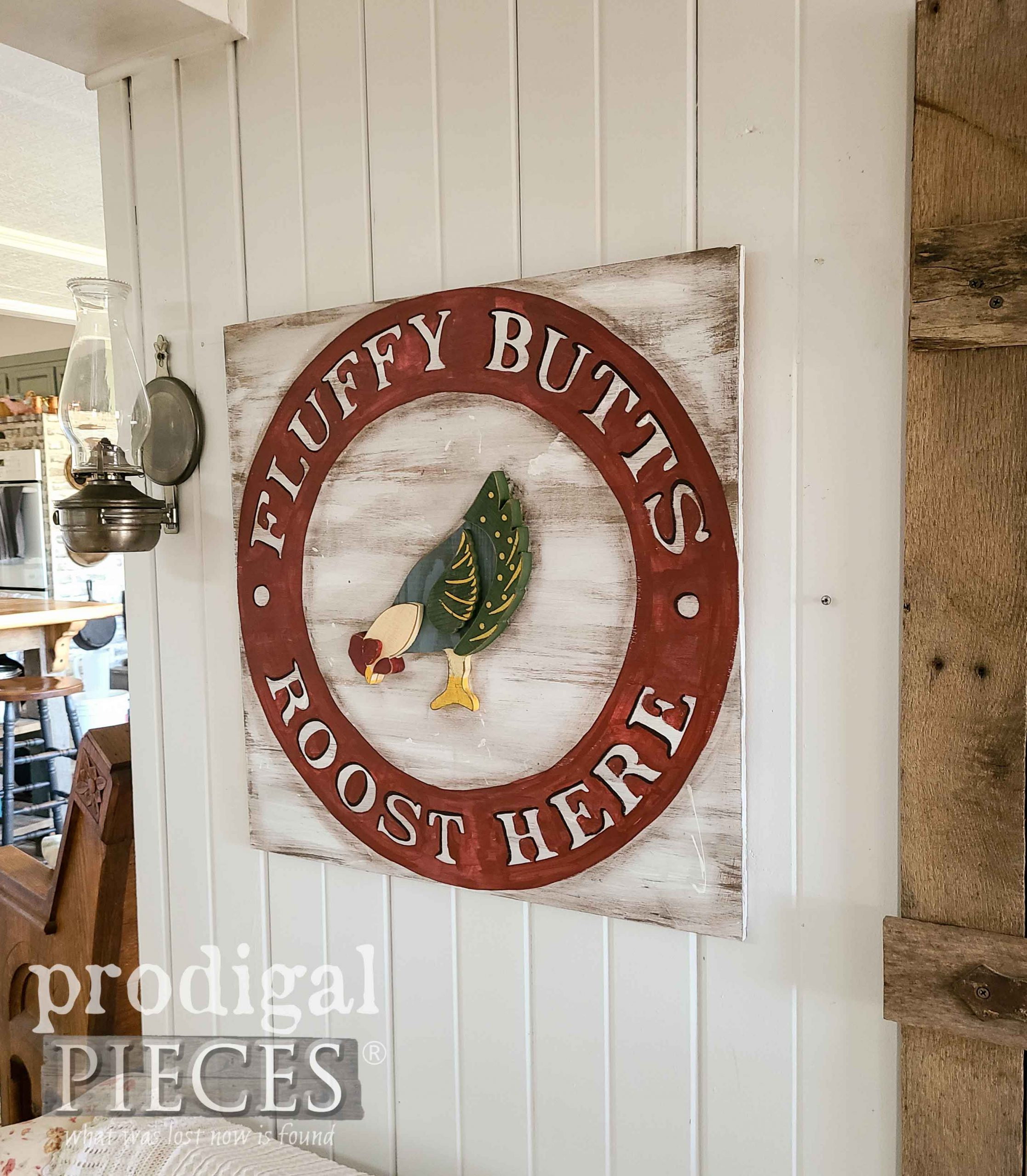 Fluffy Butts Roost Here Farmhouse Chicken Sign by Larissa of Prodigal Pieces | prodigalpieces.com #prodigalpieces #farmhouse #diy #home #homedecor