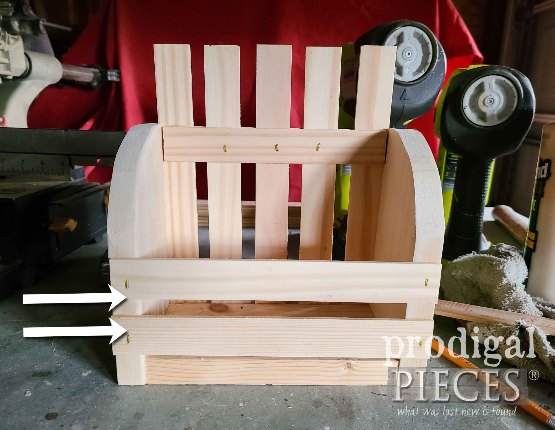 Front Slats Added to DIY Wall Pocket | prodigalpieces.com #prodigalpieces