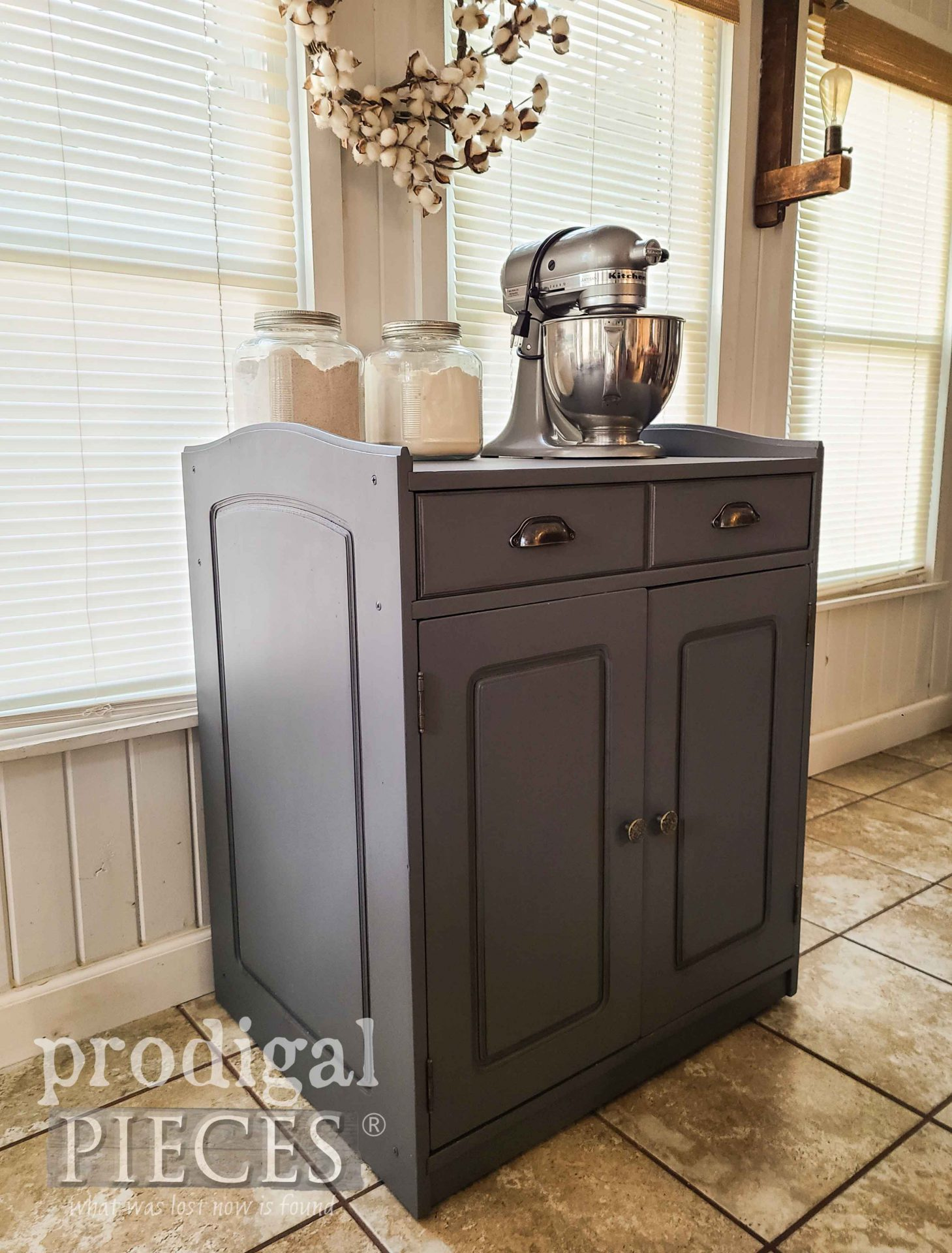 Farmhouse Gray Baking Cabinet with Portability and Cutting Board by Prodigal Pieces | prodigalpieces.com #prodigalpieces #farmhouse #kitchen #storage #diy