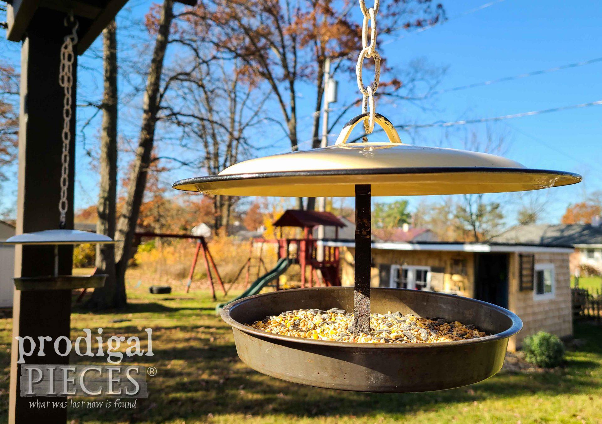 Handmade Enamel Pot Lid Upcycled Bird Feeder by Larissa of Prodigal Pieces | prodigalpieces.com #prodigalpieces #upcycled #handmade #garden #farmhouse #home #homedecor
