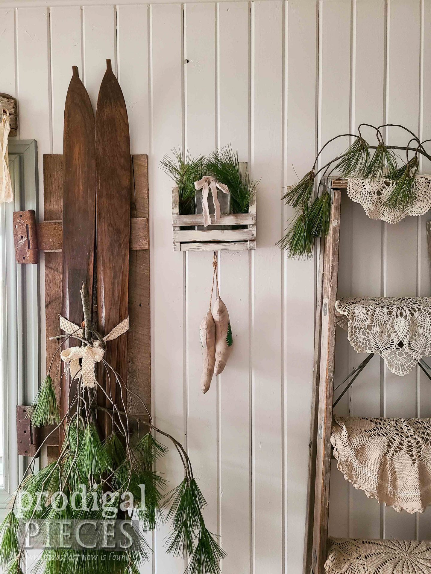 Handmade DIY Farmhouse Wall Pocket with Linen Stockings with Tutorial by Larissa of Prodigal Pieces | prodigalpieces.com #prodigalpieces #farmhouse #christmas #diy
