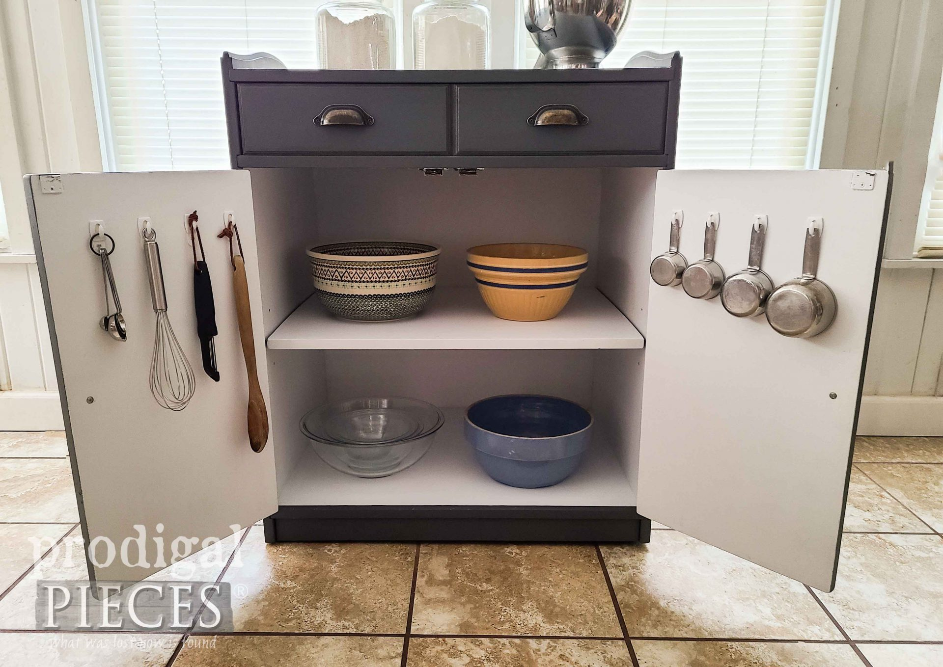Inside Farmhouse Baking Cabinet with Storage by Larissa of Prodigal Pieces | prodigalpieces.com #prodigalpieces #kitchen #home #diy #storage #home #homedecor
