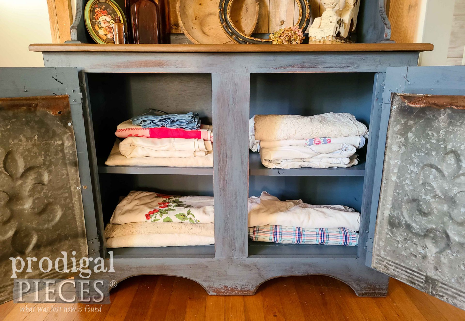 Inside Farmhouse Hutch Bottom by Larissa of Prodigal Pieces | prodigalpieces.com #prodigalpieces #farmhouse #home #homedecor