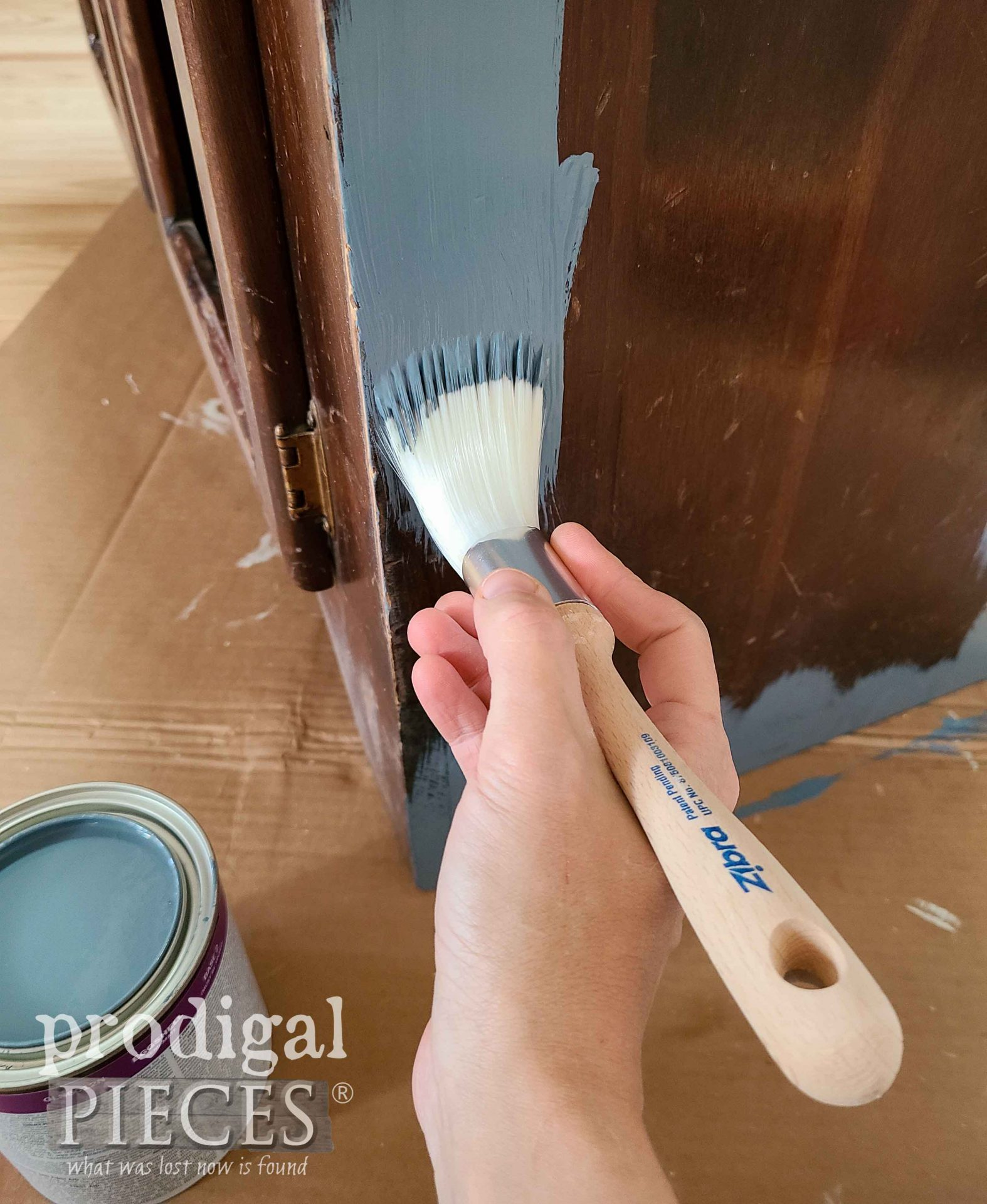 NYPD Blue Paint for Painted Pine Hutch by Larissa of Prodigal Pieces | prodigalpieces.com #prodigalpieces