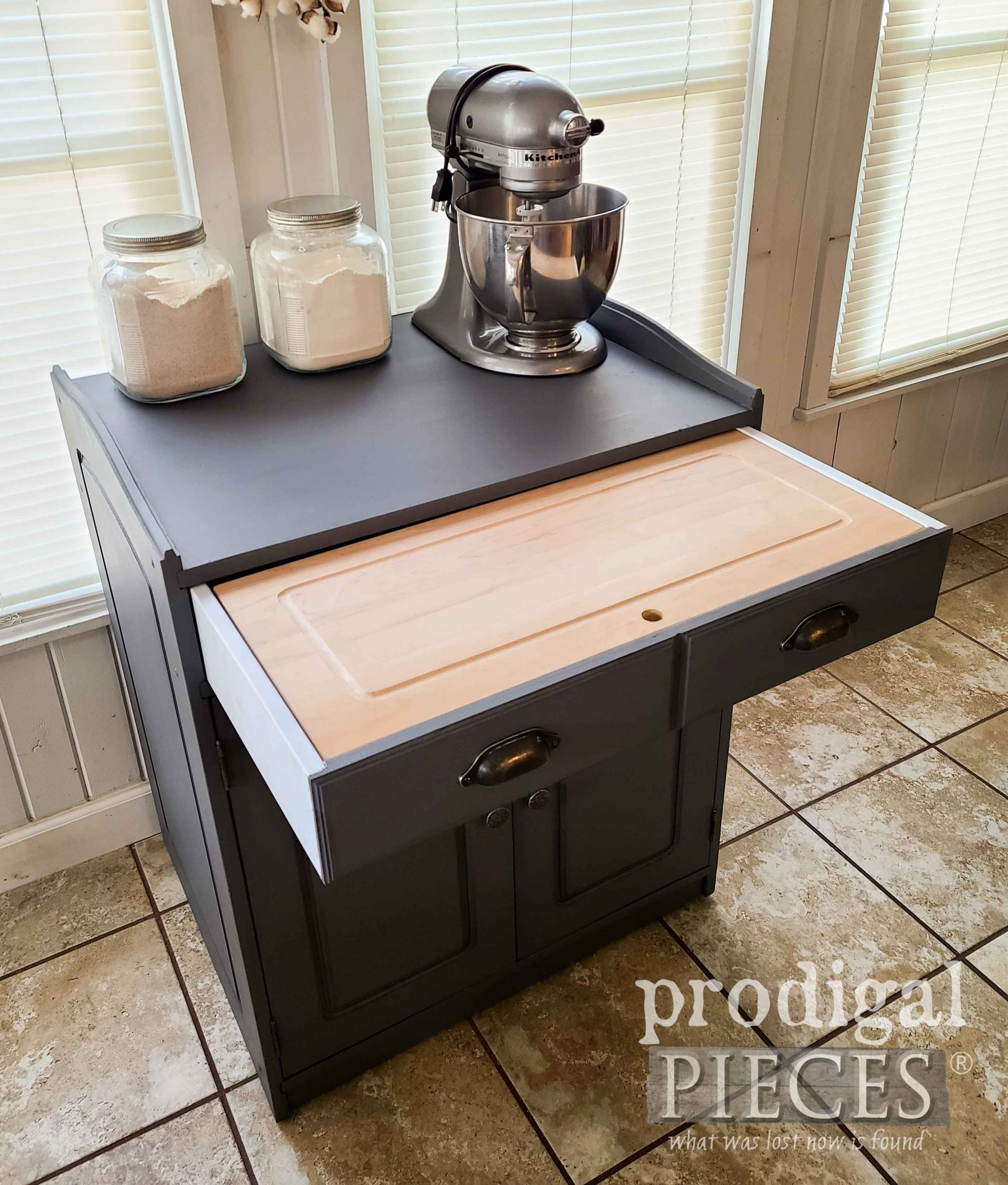 Open Baking Cabinet Drawer with Cutting Board by Larissa of Prodigal Pieces | prodigalpieces.com #prodigalpieces #farmhouse #diy #furniture #kitchen