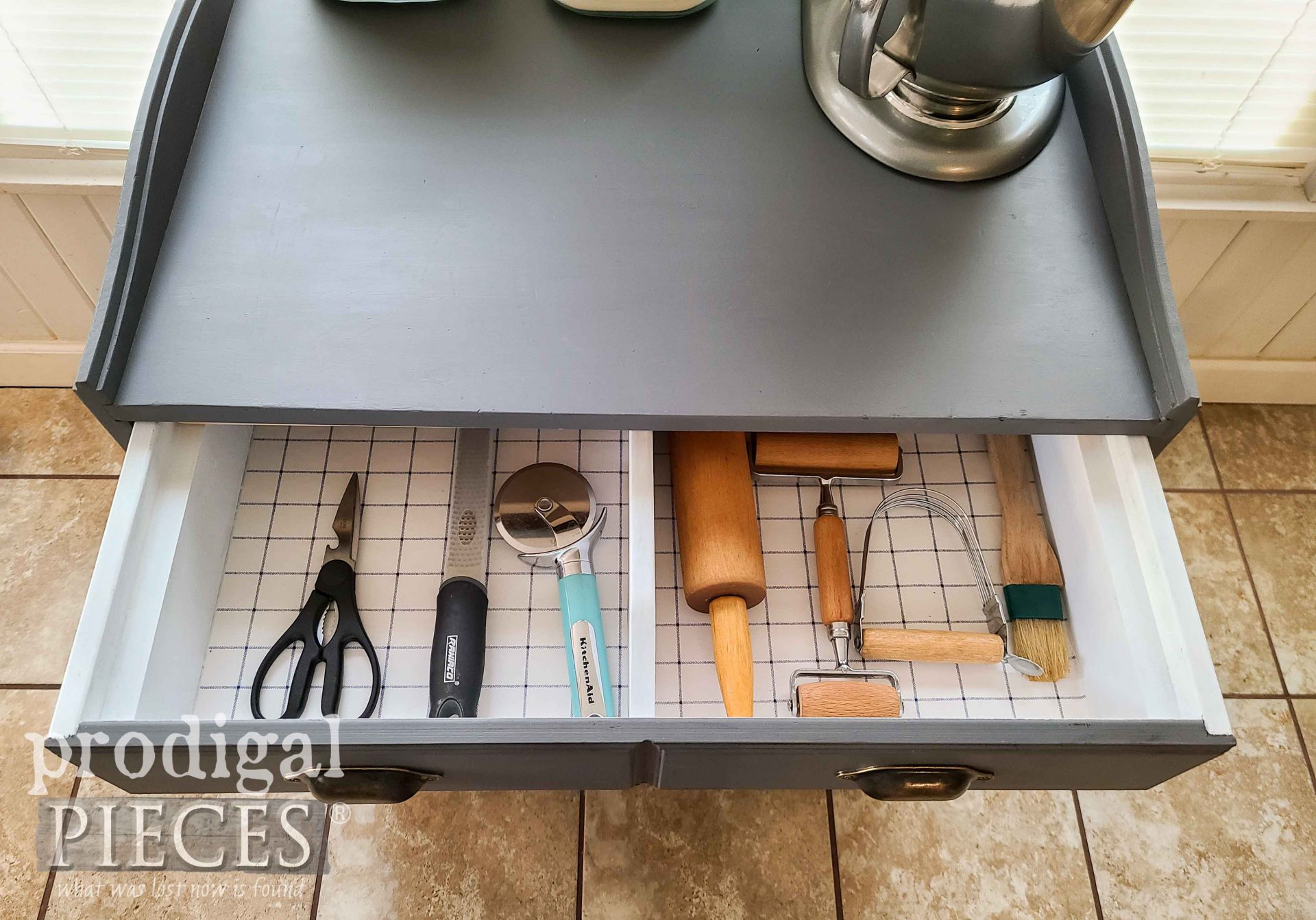Open Baking Cabinet Drawer with Tools by Prodigal Pieces | prodigalpieces.com #prodigalpieces #farmhouse #furniture #home #homedecor #kitchen