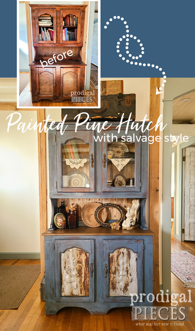 Salvaged Style Pine Hutch Makeover by Larissa of Prodigal Pieces | prodigalpieces.com #prodigalpieces #furniture #home #farmhouse #homedecor #diy
