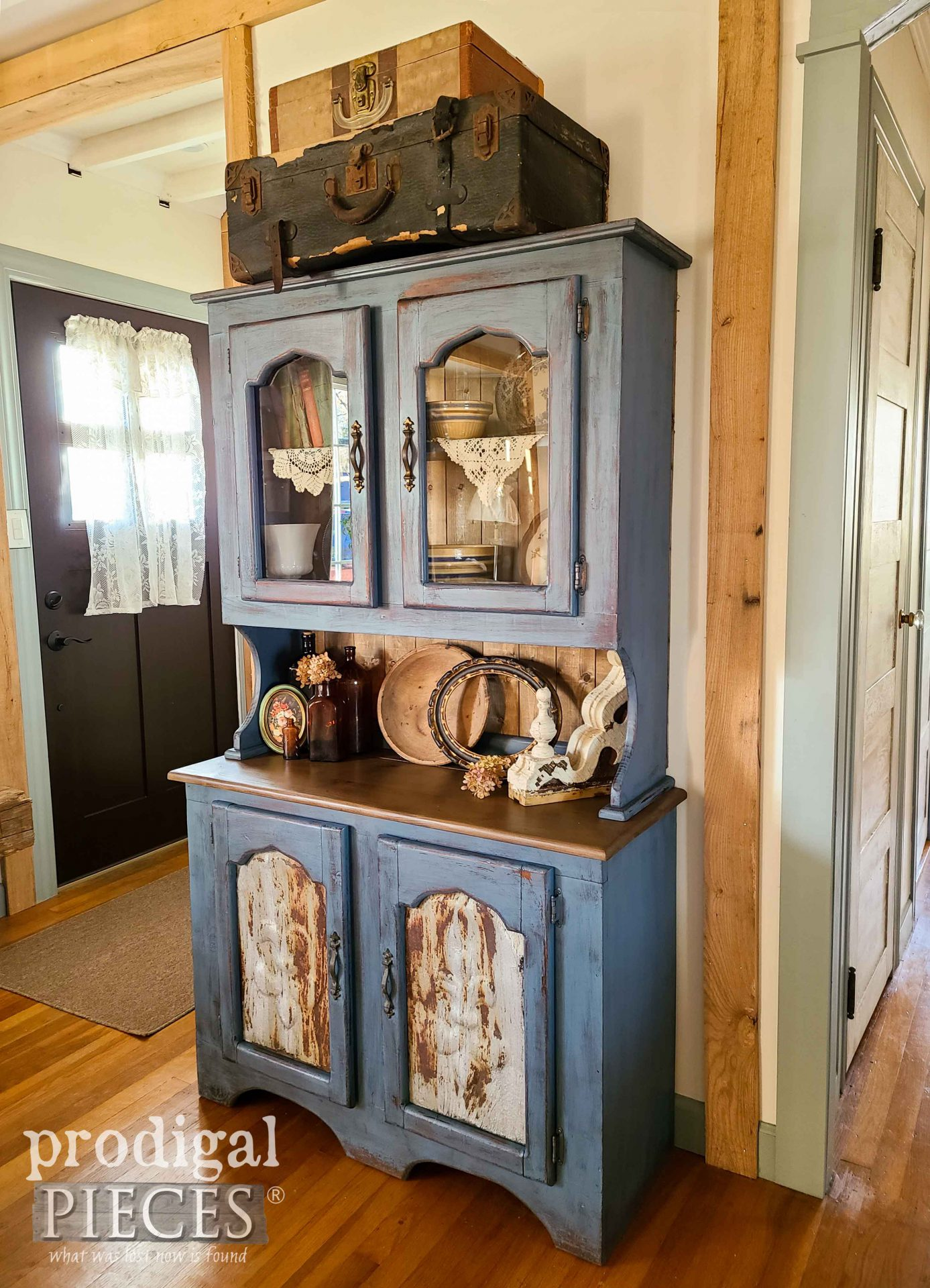 Rustic Farmhouse Blue Painted Pine Hutch with Salvage Style by Larissa of Prodigal Pieces | prodigalpieces.com #prodigalpieces #home #farmhouse #homedecor #diy
