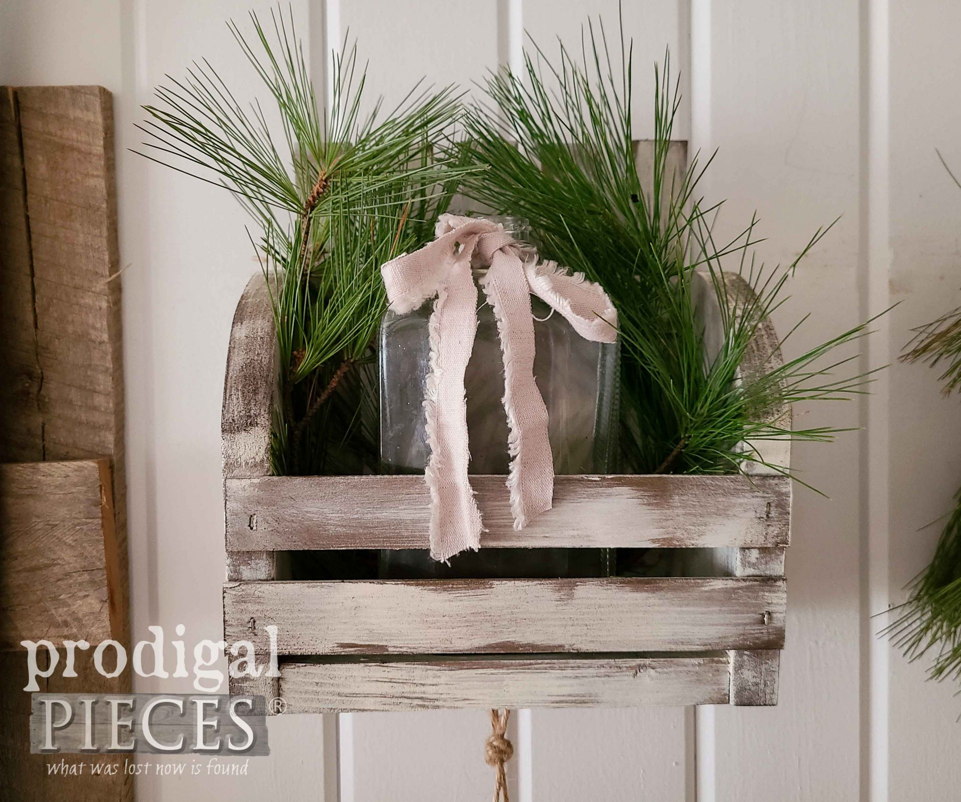 Rustic Slat Wooden DIY Wall Pocket Made from Paint Stir Sticks by Larissa of Prodigal Pieces | prodigalpieces.com #prodigalpieces #farmhouse #home homedecor