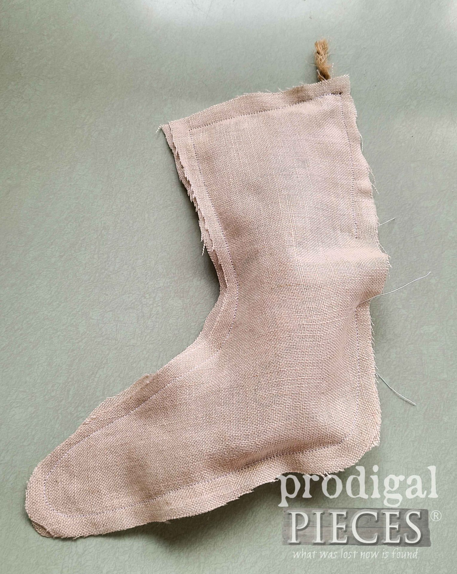 Stuffed Linen Stocking for Farmhouse Decor by Larissa of Prodigal Pieces | prodigalpieces.com
