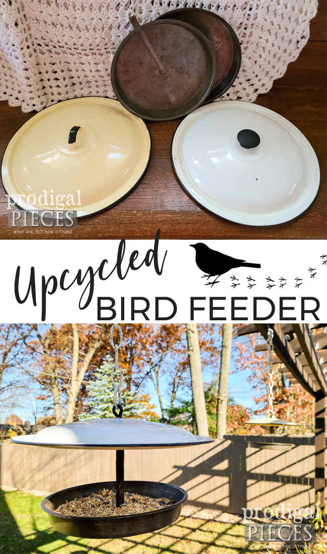 Create an upcycled bird feeder from misfit enamel pot lids and cake pans. Tutorial by Larissa of Prodigal Pieces at prodigalpieces.com #prodigalpieces #upcycled #garden #birds #farmhouse #home #homedecor