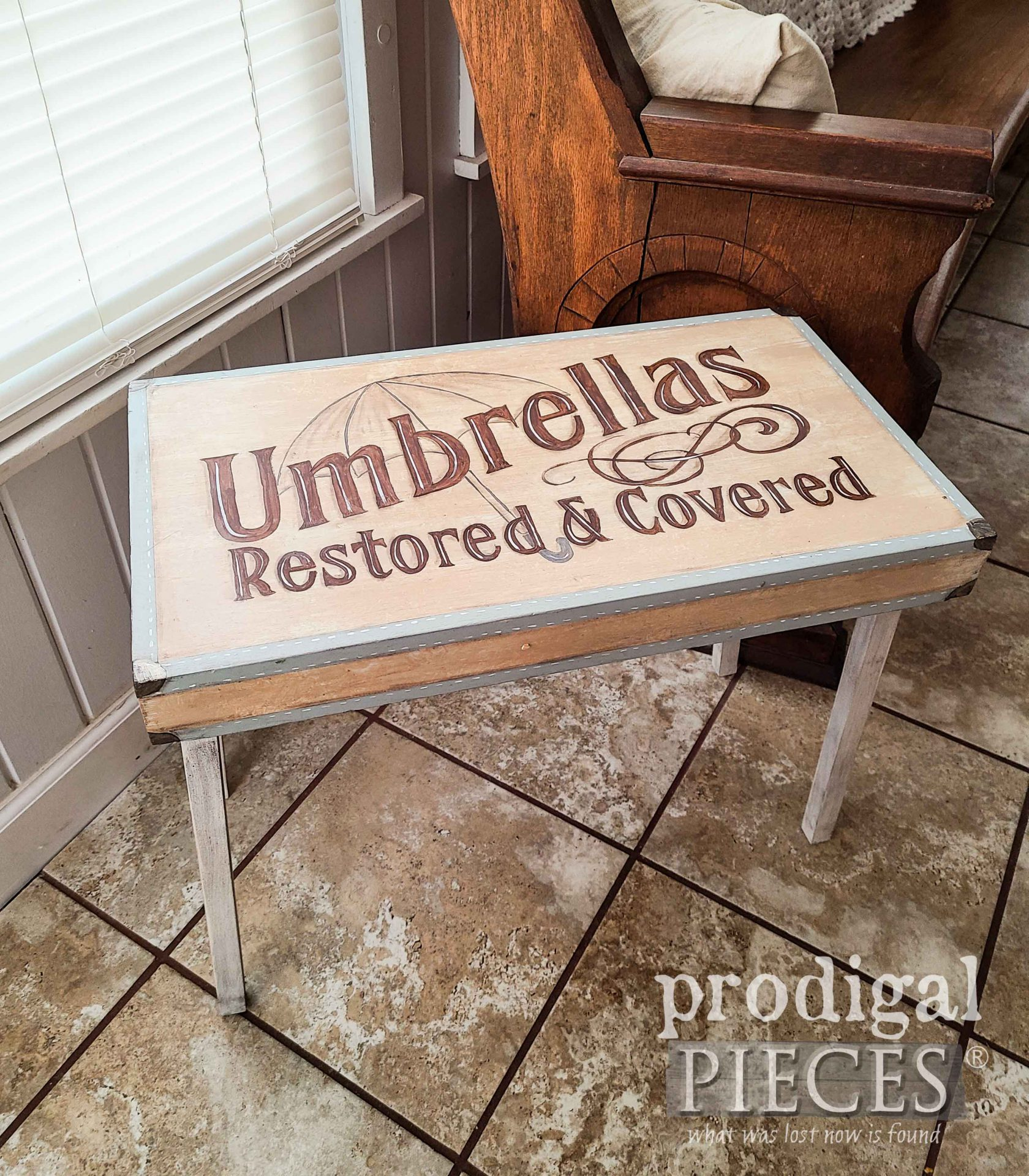 Vintage Folding Table Top with Hand-Painted Typography Art by Larissa of Prodigal Pieces | prodigalpieces.com #prodigalpieces #farmhouse #furniture #home #homedecor
