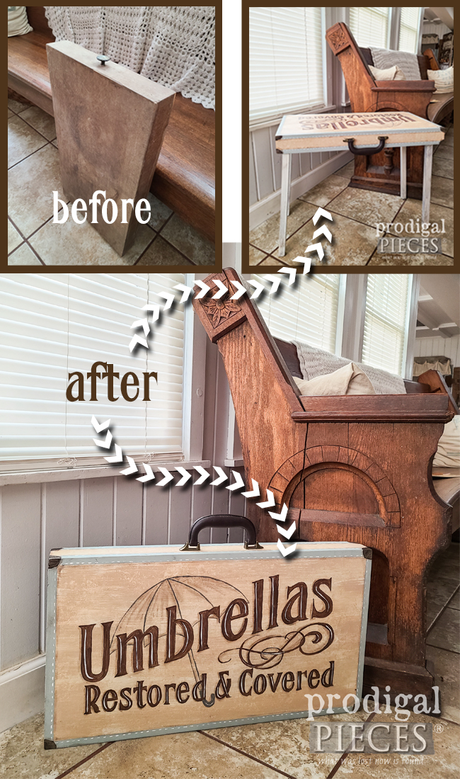 This vintage folding table was in much need of TLC. Larissa of Prodigal Pieces gave it whimsy and style. Head to prodigalpieces.com #prodigalpieces #furniture #home #homedecor #diy #vintage