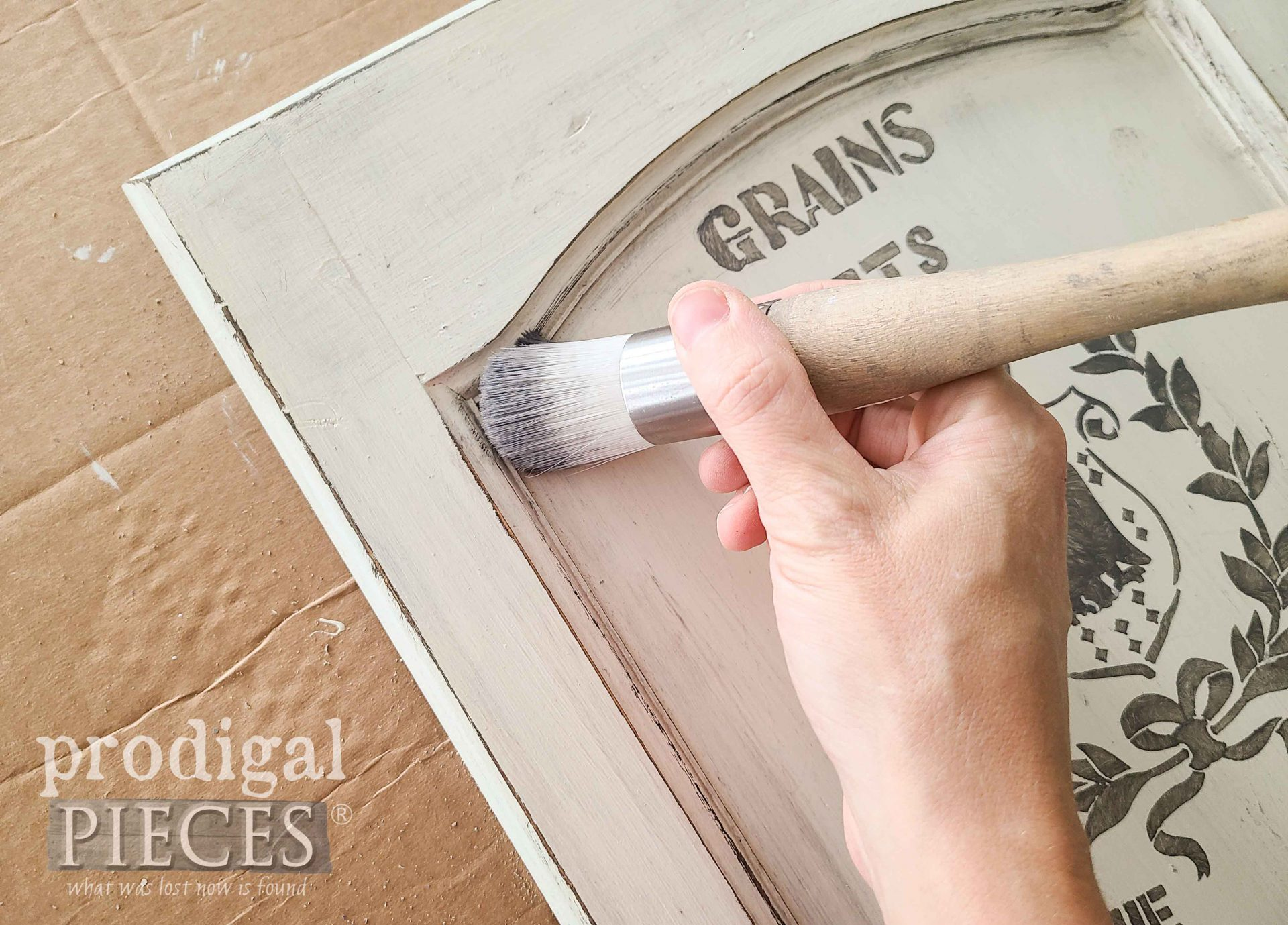 Waxing Cupboard Door with Gray Wax by Prodigal Pieces | prodigalpieces.com #prodigalpieces