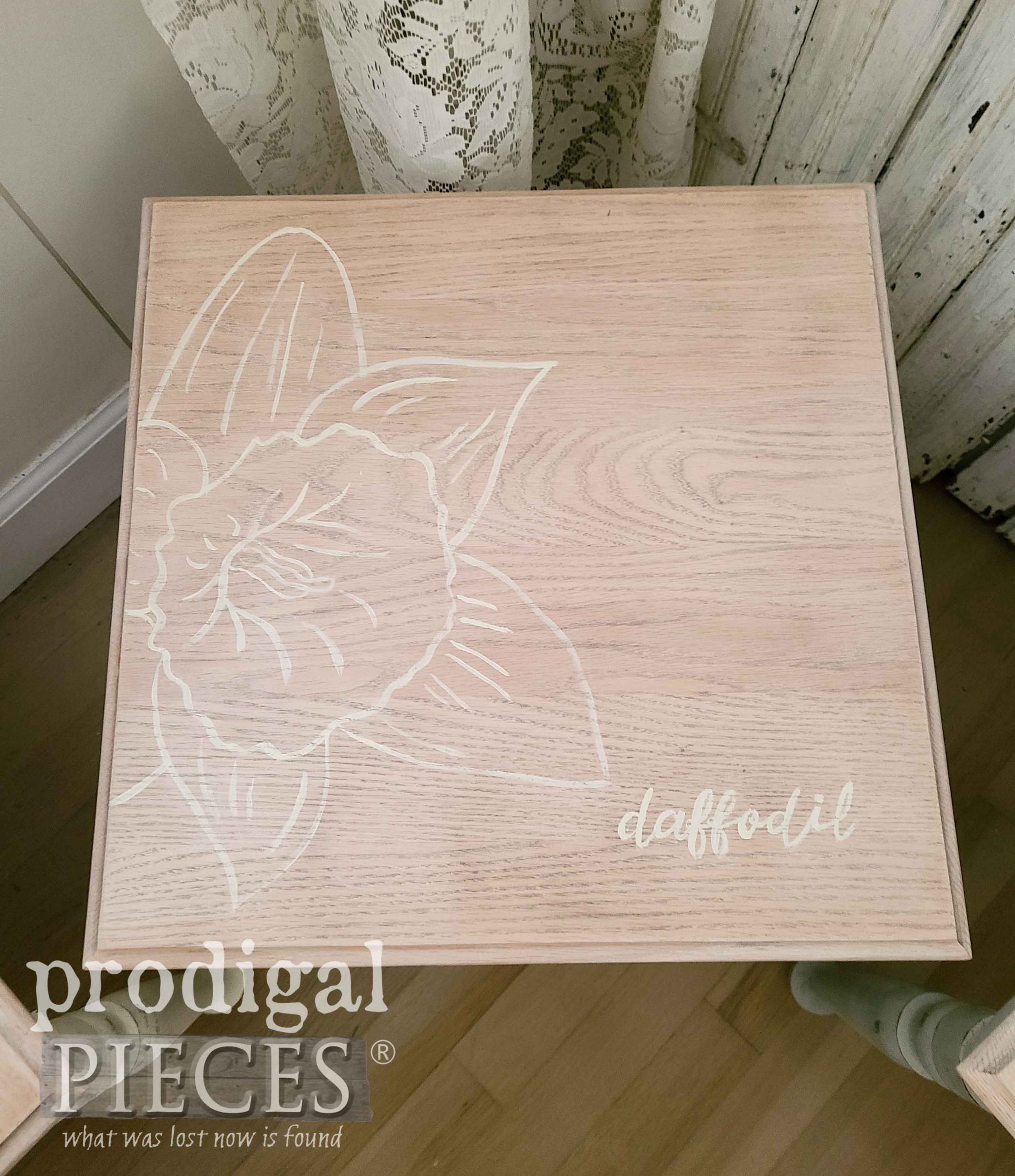 Hand-Painted Daffodil Flower on Vintage Stacking Table | prodigalpieces.com #prodigalpieces #furniture #art #homedecor