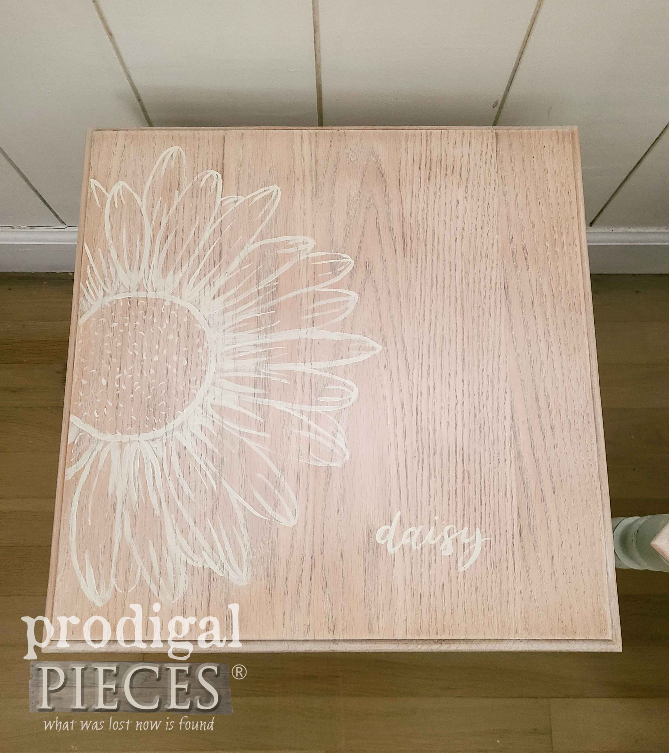 Hand-Painted Daisy Flower on Vintage Stacking Table by Larissa of Prodigal Pieces | prodigalpieces.com #prodigalpieces #furniture #art #diy