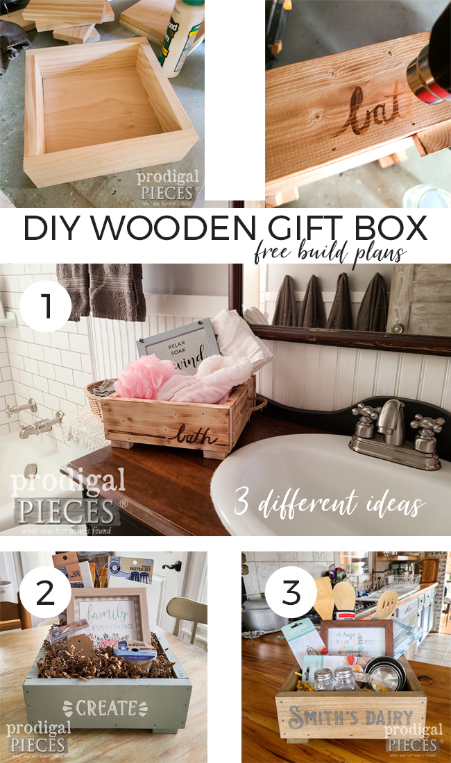 You can create this easy DIY wooden gift box in less than a day. Three different last-minute gift ideas that won't break the bank too. Full tutorial by Larissa of Prodigal Pieces at prodigalpieces.com #prodigalpieces #giftidea #christmas #giveaway #diy #woodworking #home #homedecor