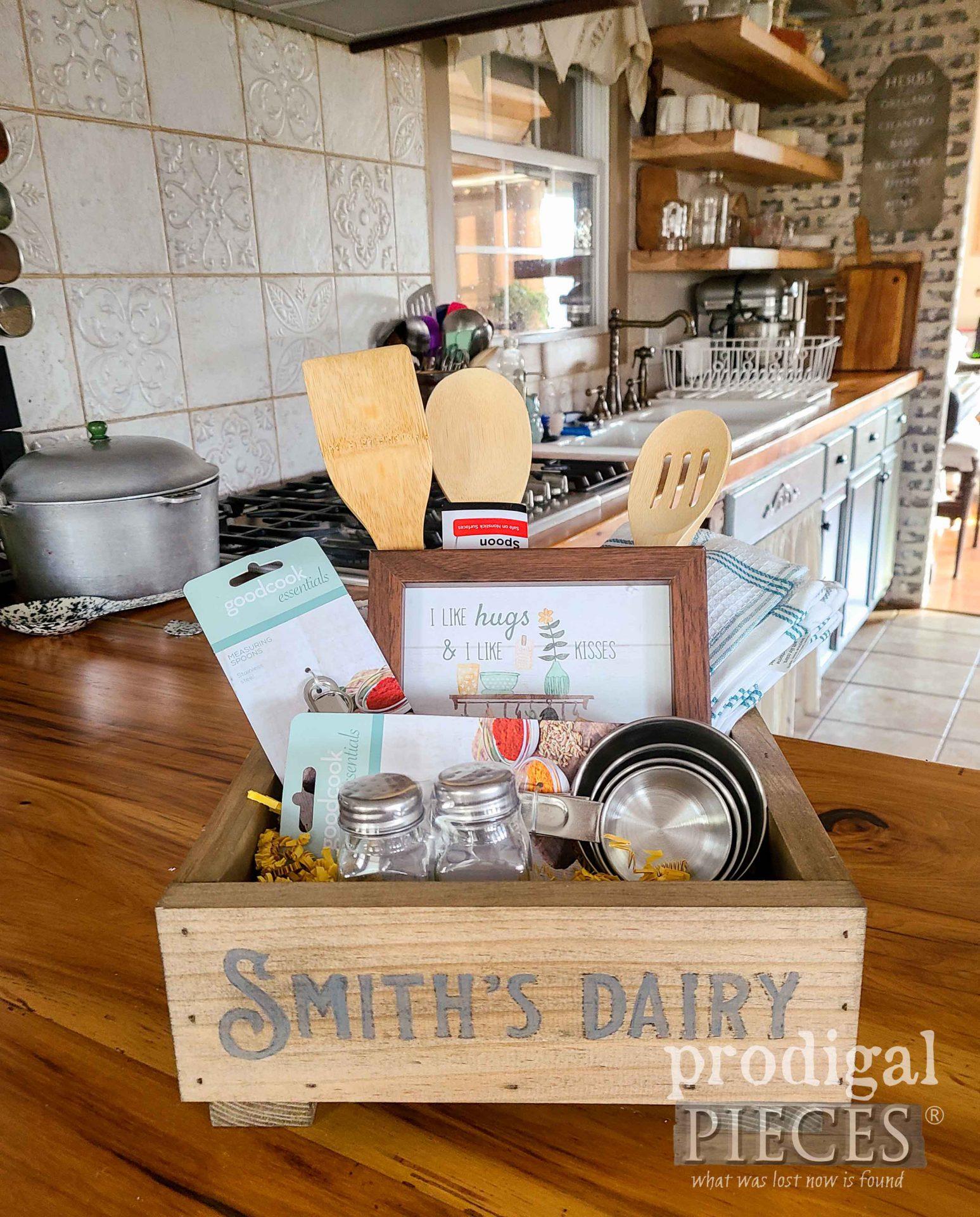 Farmhouse Kitchen Gadget Gift Box by Larissa of Prodigal Pieces | prodigalpieces.com #prodigalpieces #kitchen #farmhouse #diy #giftidea