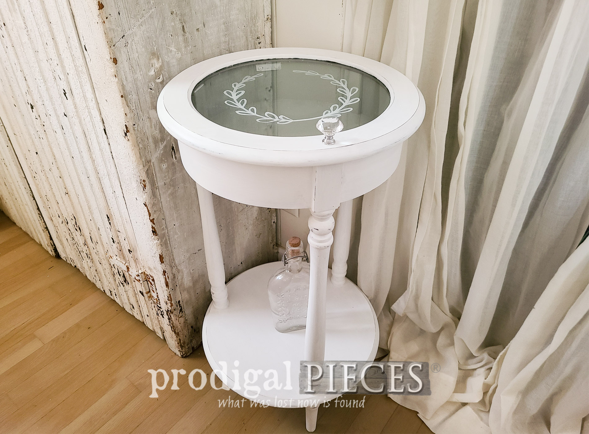 Featured Tiered Side Table with Glass Cabinet Top by Larissa of Prodigal Pieces | prodigalpieces.com #prodigalpieces #furniture #home #shabbychic #homedecor