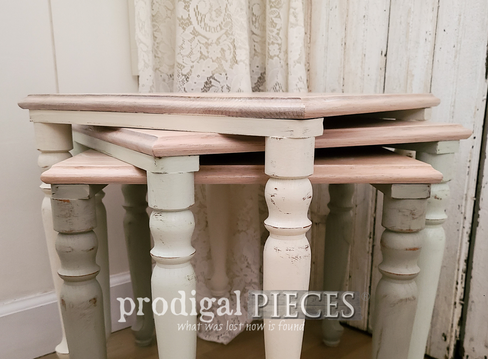 Featured Vintage Stacking Tables with Floral Design by Larissa of Prodigal Pieces | prodigalpieces.com #prodigalpieces #furniture #diy #home #homedecor