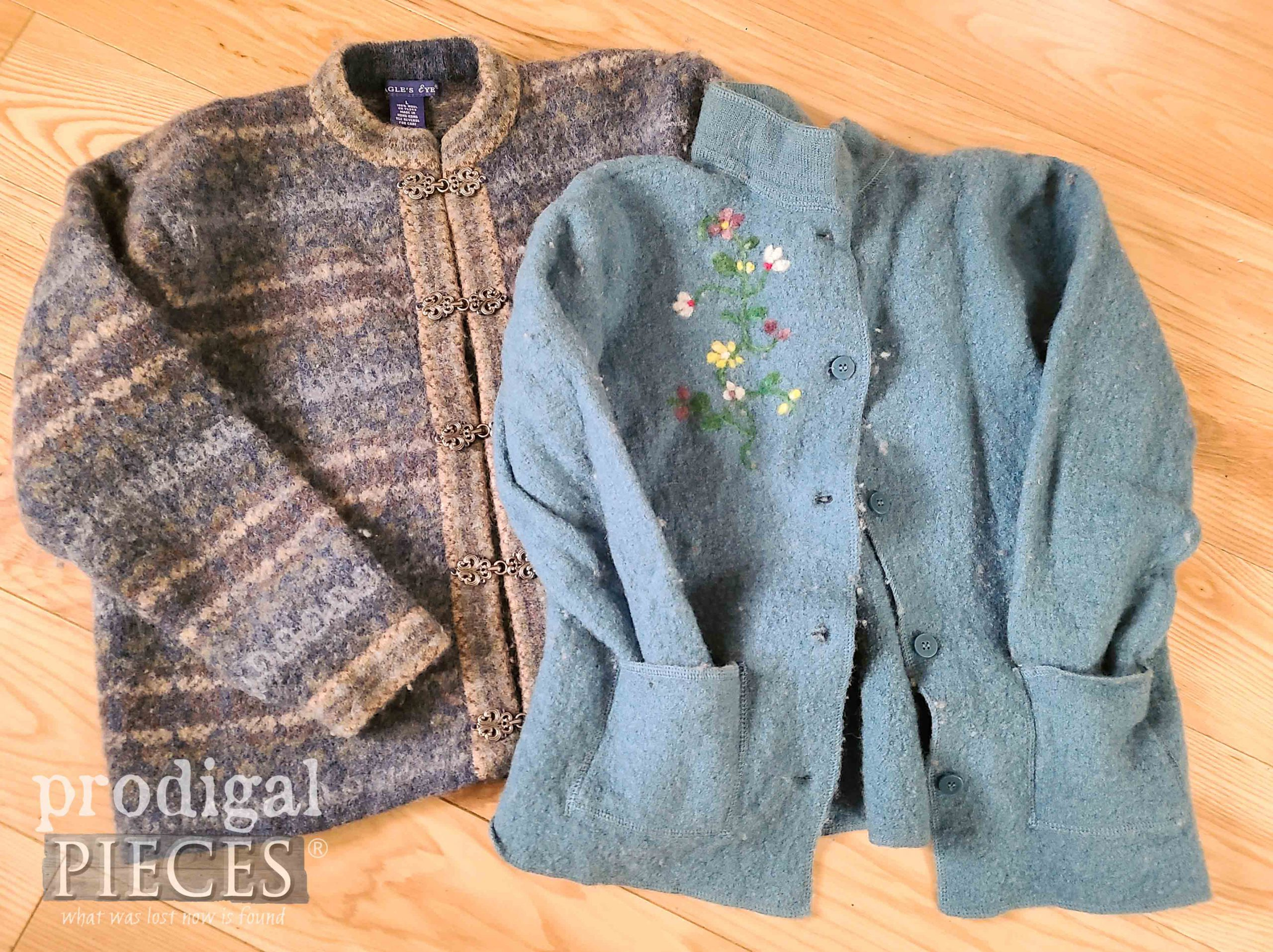 Felted Wool Sweaters Before Upcycle by Larissa of Prodigal Pieces | prodigalpieces.com #prodigalpieces