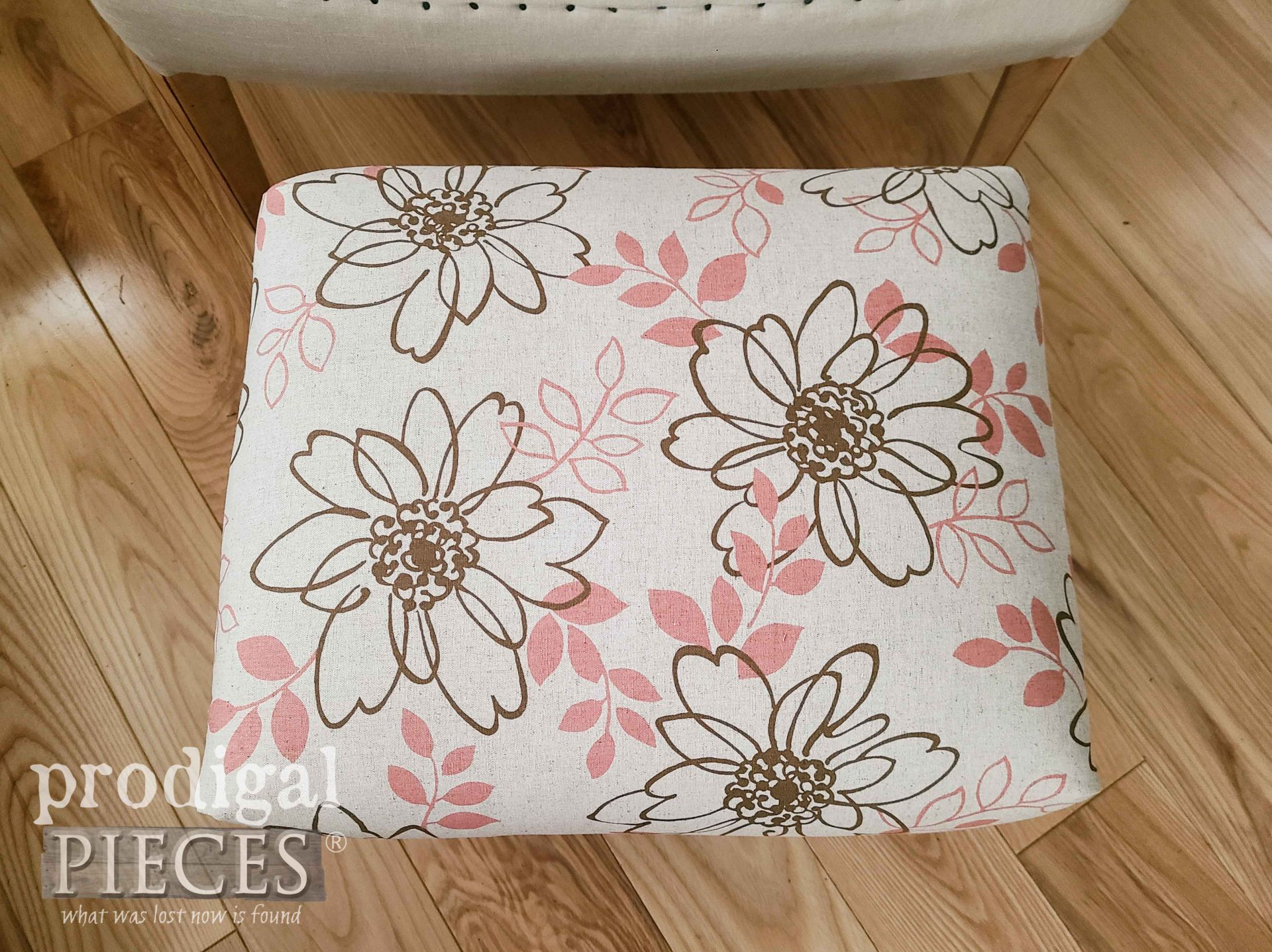 Floral Linen Upholstery on Vintage Footstool by Larissa of Prodigal Pieces | prodigalpieces.com #prodigalpieces