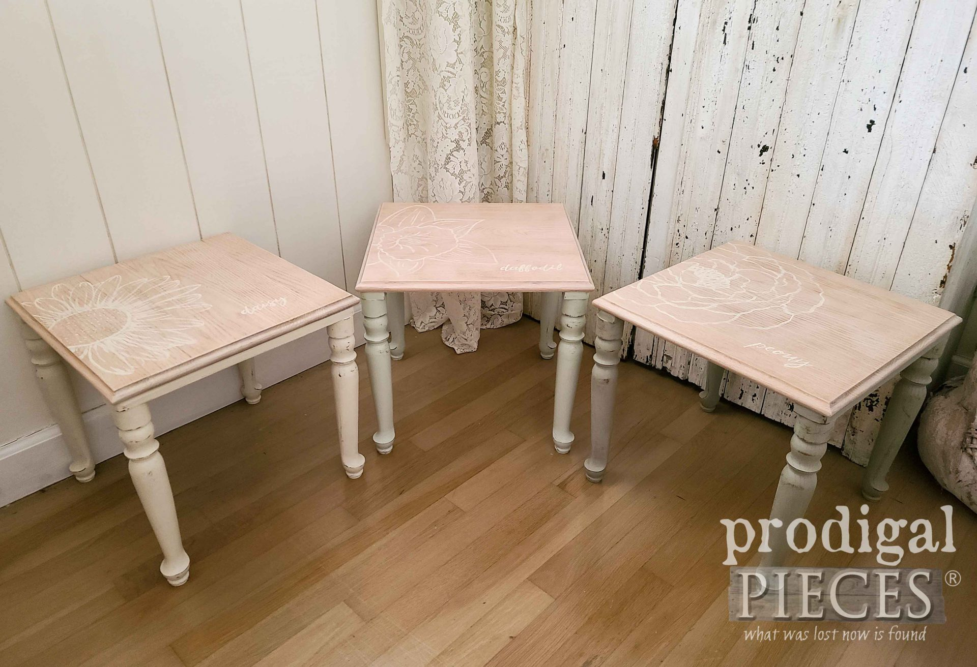 Floral Motif on Vintage Stacking Tables by Larissa of Prodigal Pieces | prodigalpieces.com #prodigalpieces #furniture #diy #home