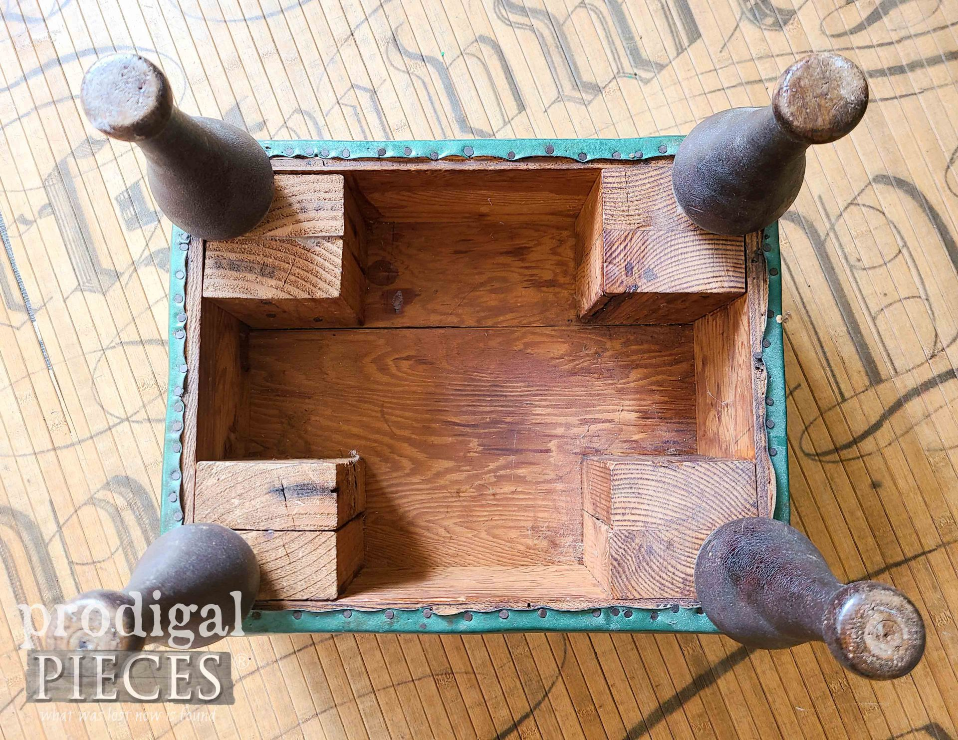 Vintage Vinyl Footstool Underside Before Makeover | prodigalpieces.com