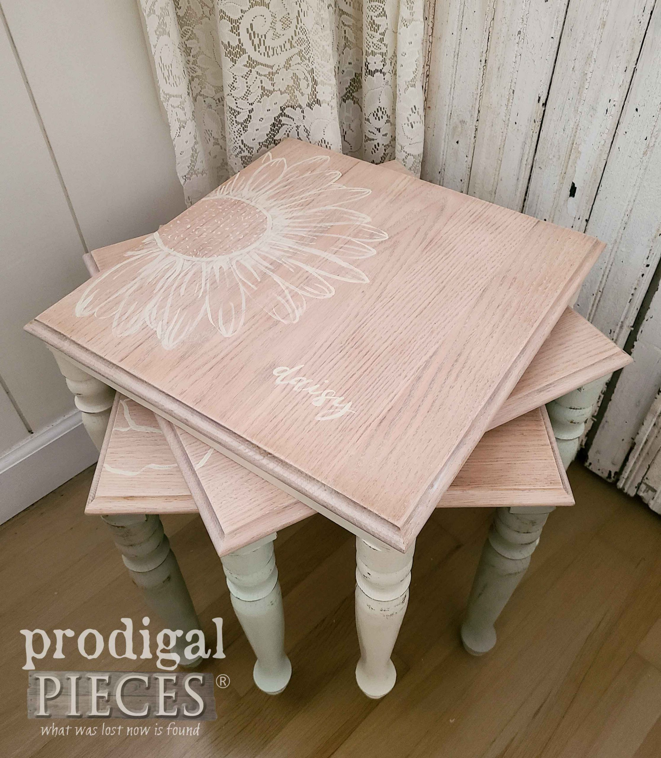 Hand-Painted Vintage Stacking Tables with Floral Motif by Larissa of Prodigal Pieces | prodigalpieces.com #prodigalpieces #furniture #vintage #handmade #homedecor