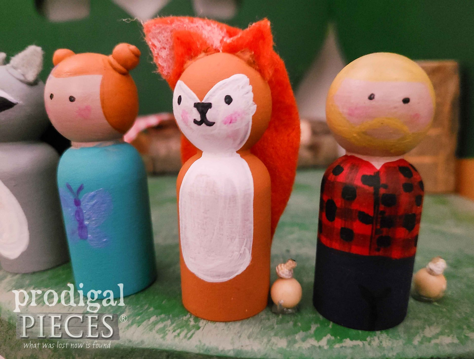 Hand-Painted Woodland Dolls for Upcycled Quilt Rack Treehouse Playset by Larissa of Prodigal Pieces | prodigalpieces.com #prodigalpieces #diy #fun #toys #handmade