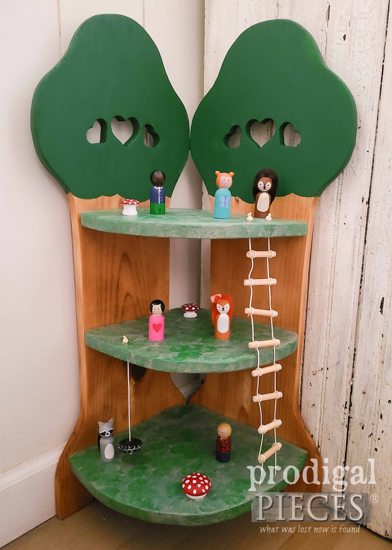 Handmade Woodland Playset Treehouse from Upcycled Quilt Rack by Larissa of Prodigal Pieces | prodigalpieces.com #prodigalpieces #kids #toys #handmade #gifts