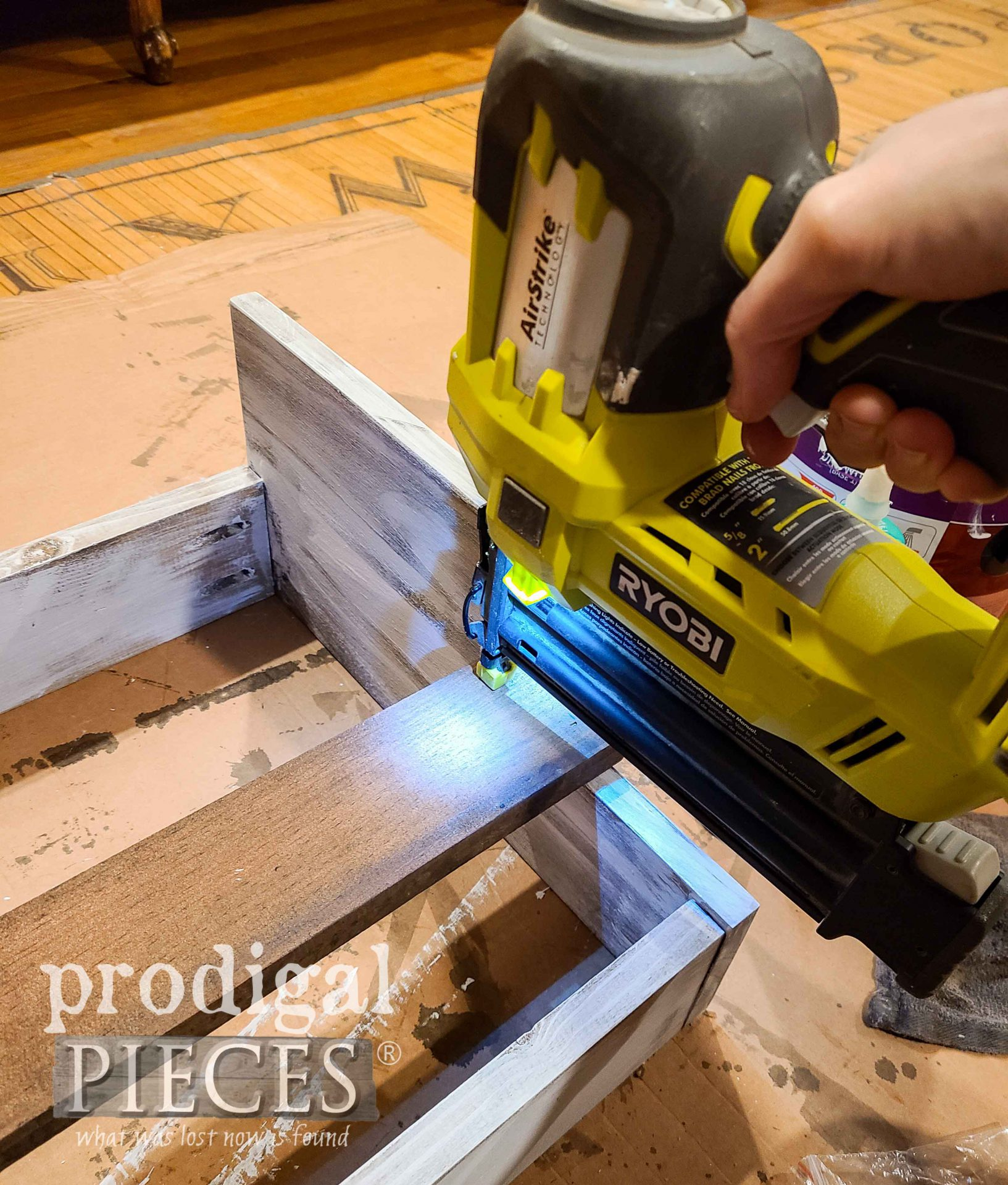 Nailing DIY Wood Slat Step Stool by Prodigal Pieces | prodigalpieces.com