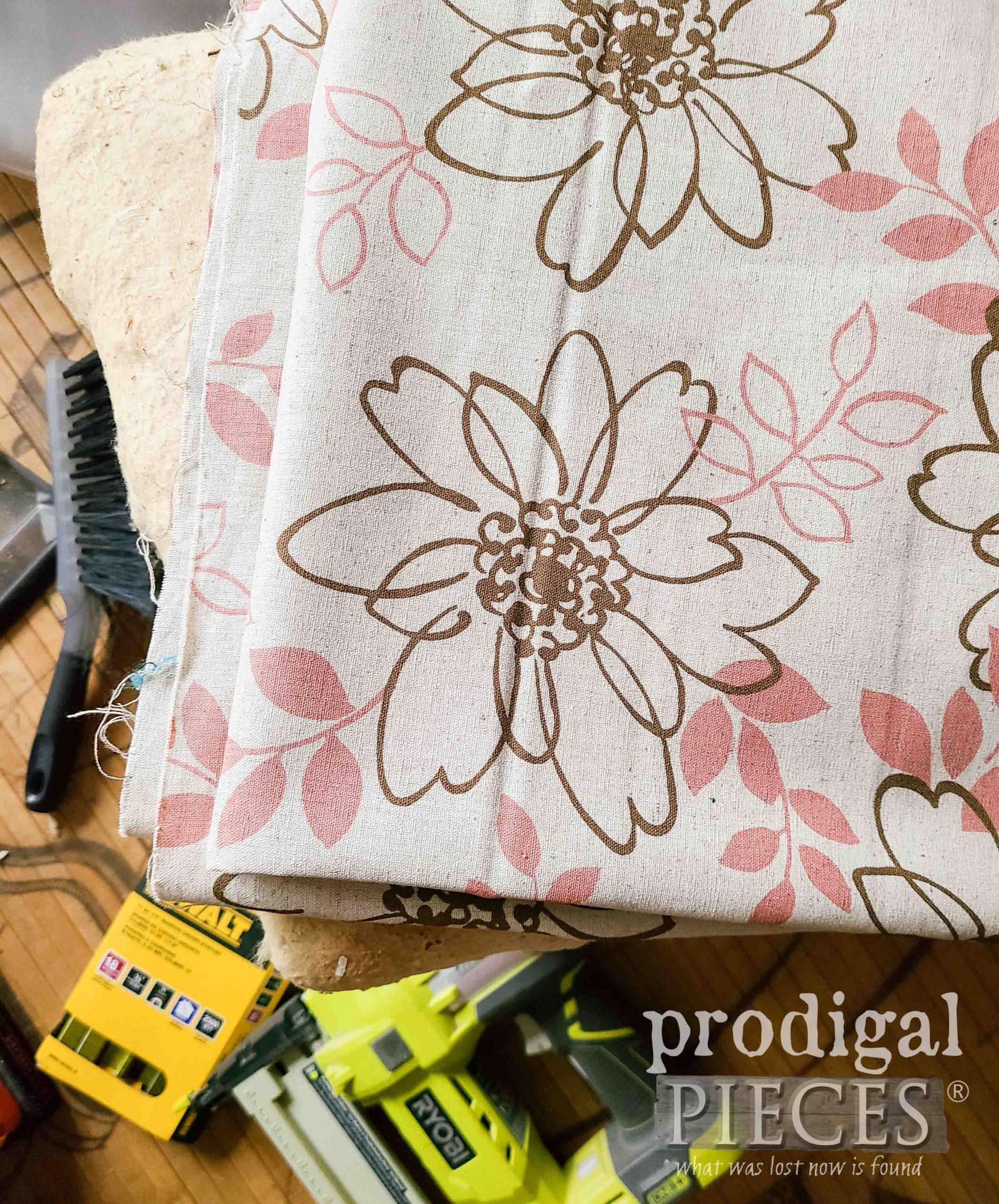 New Linen Upholstery on Vintage Vinyl Footstool | prodigalpieces.com #prodigalpieces