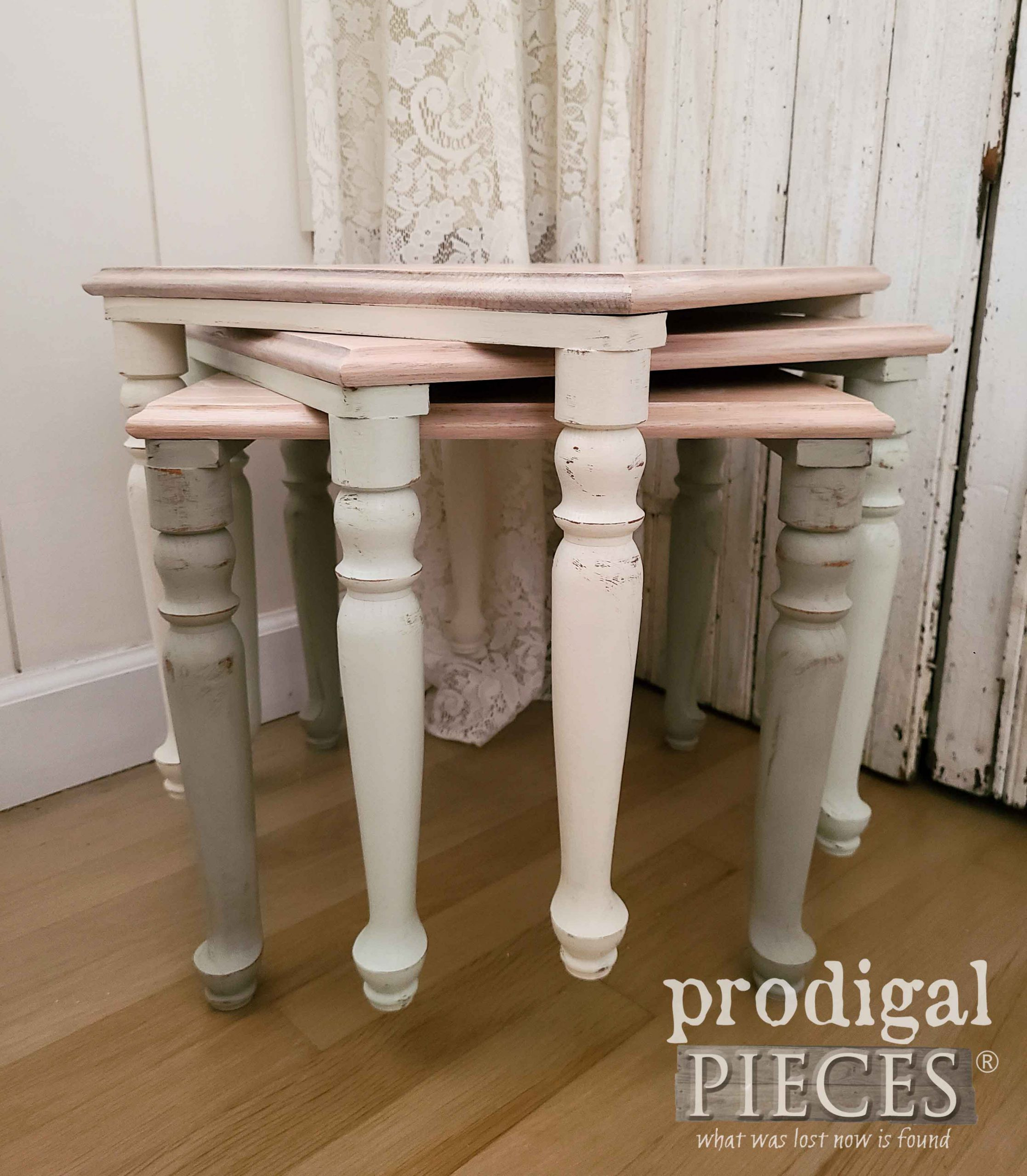 Ombre Vintage Stacking Tables by Larissa of Prodigal Pieces | prodigalpieces.com #prodigalpieces #farmhouse #home #homedecor #furniture