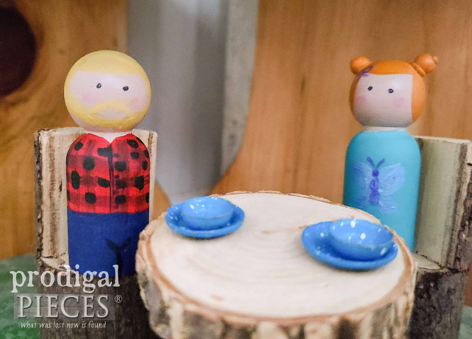 Whimsical Peg People at Dining Table by Larissa of Prodigal Pieces | prodigalpieces.com #prodigalpieces #toys #upcycled #kids