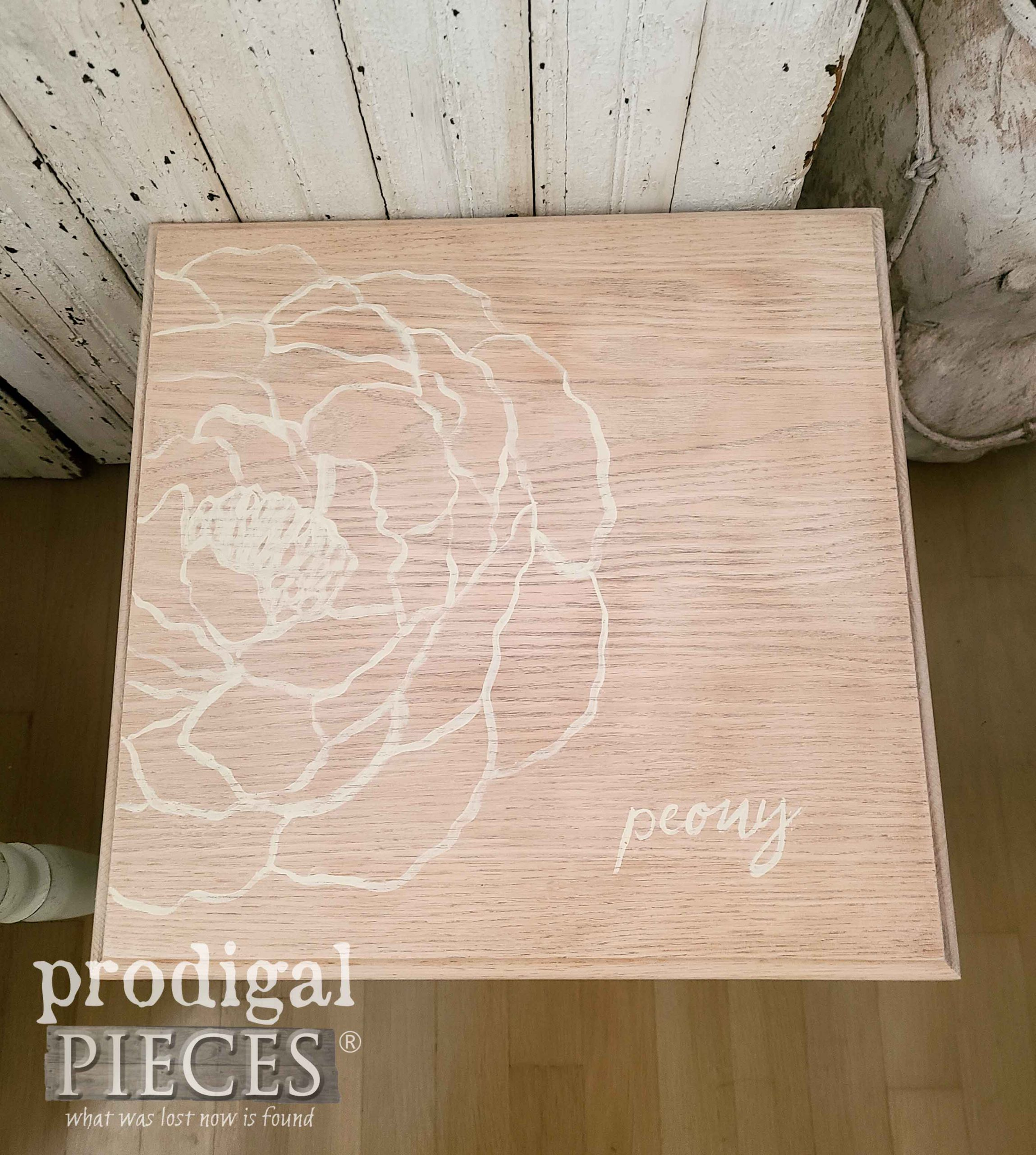 Hand-Painted Peony Flower on Vintage Stacking Table Top | prodigalpieces.com #prodigalpieces #diy #home #furniture