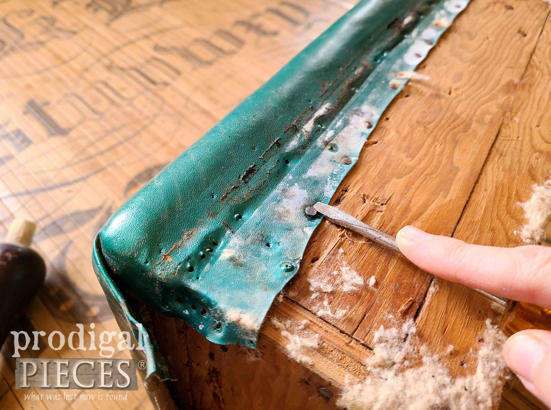 Removing Old Vinyl Upholstery on Vintage Footstool by Larissa of Prodigal Pieces | prodigalpieces.com