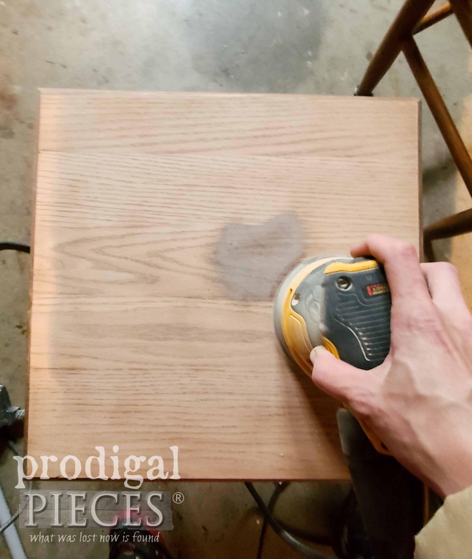 Sanding Stacking Tables with DeWalt Sander | prodigalpieces.com