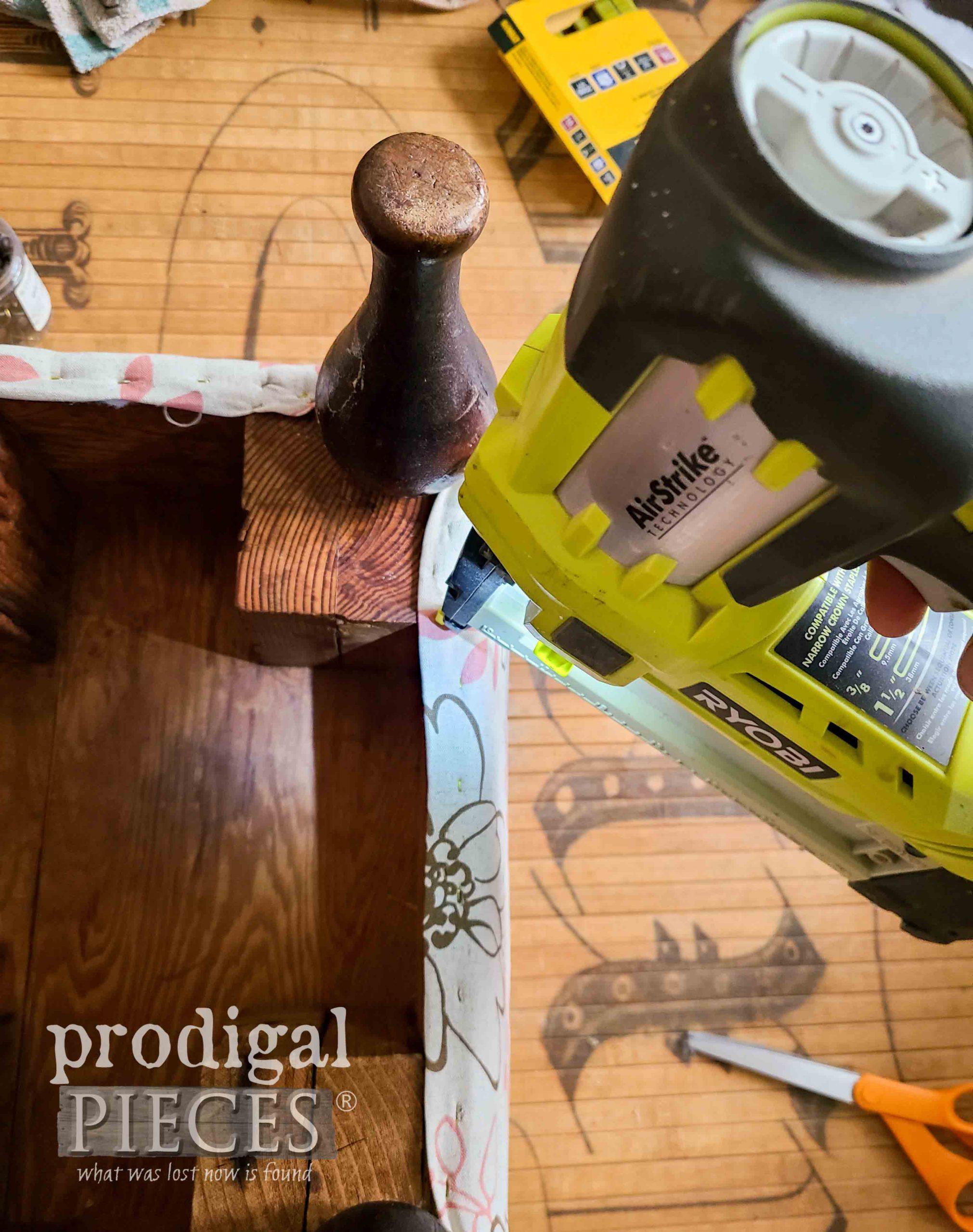 Stapling New Upholstery on Vintage Vinyl Footstool | prodigalpieces.com