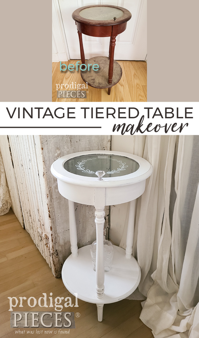 Tiered Side Side Table goes from Blah to Beautiful | Details at Prodigal Pieces | prodigalpieces.com #prodigalpieces #furniture #home #homedecor