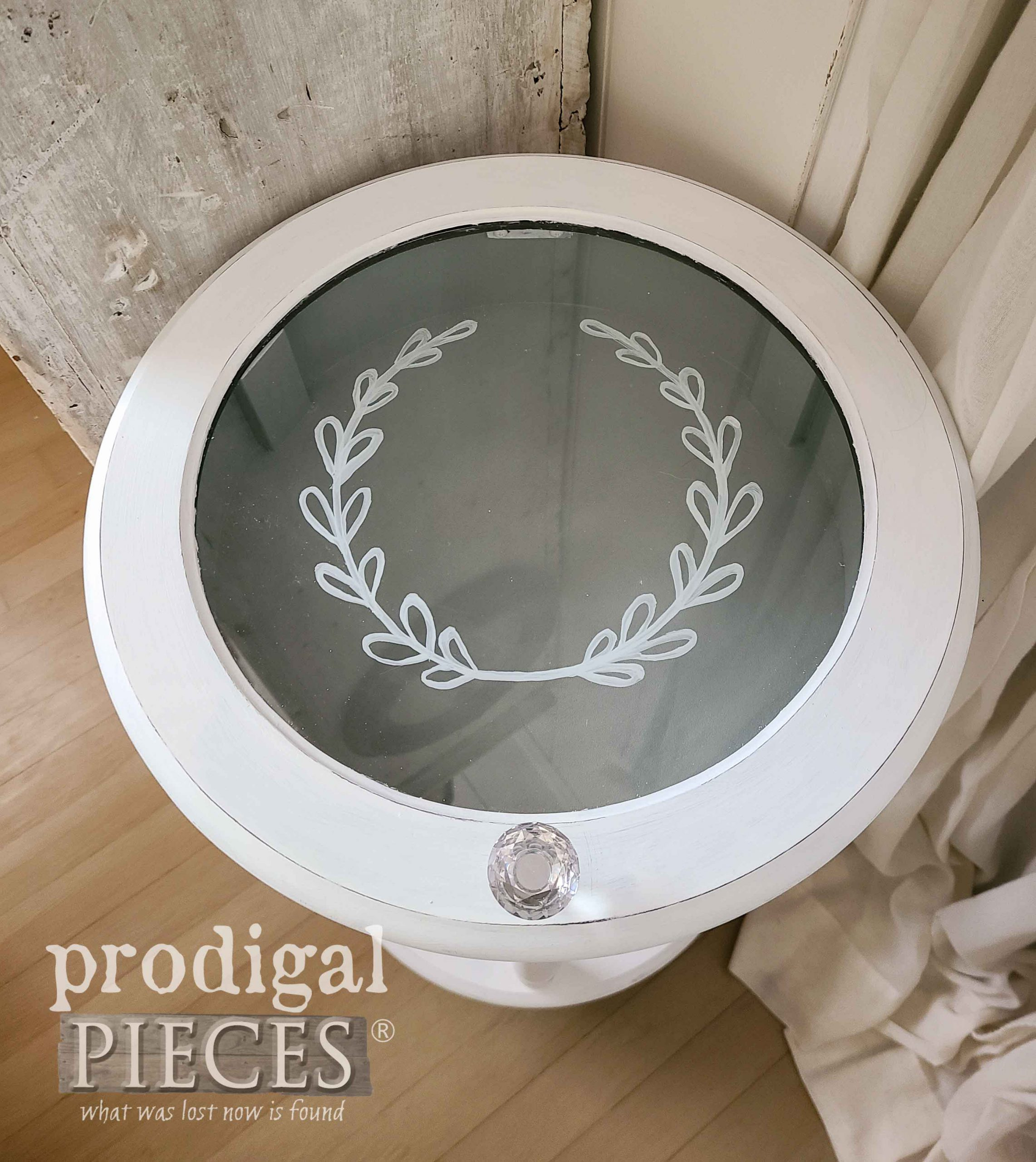 Tiered Table Top with Glass Design by Larissa of Prodigal Pieces | prodigalpieces.com #prodigalpieces #furniture #home